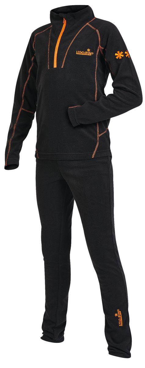 Комплект термобелья для мальчика Norfin Junior Nord: толстовка, брюки, цвет: черный, оранжевый. 308202. Размер 158308204Детский комплект термобелья Junior Nord, состоящий из толстовки и брюк, изготовлен из высококачественного микрофлиса - 100% полиэстера, который отлично отводит излишнюю влагу и сохраняет тепло, обеспечивая внутренний комфорт телу даже при высоких нагрузках. Толстовка с длинными рукавами-реглан и воротником-стойкой дополнена спереди небольшой застежкой молнией и оформлена контрастными фигурными швами и вышивкой. Спинка изделия удлинена. Брюки прямого покроя на талии имеют широкую эластичную резинку. Оформлено изделие небольшой вышивкой.В таком комплекте термобелья вашему ребенку будет тепло и комфортно.