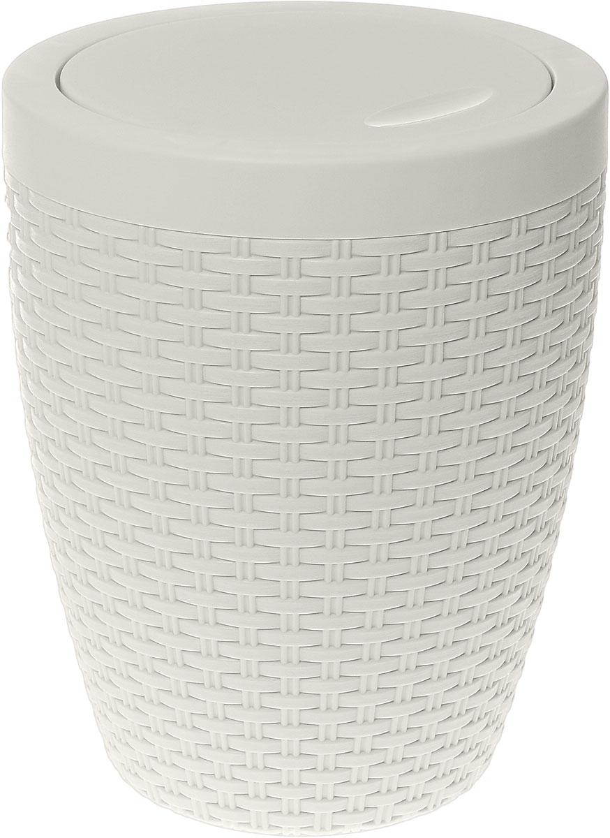Контейнер для мусора Альтернатива Плетенка, цвет: слоновая кость, 8 л контейнер для мусора альтернатива герберы 18 л