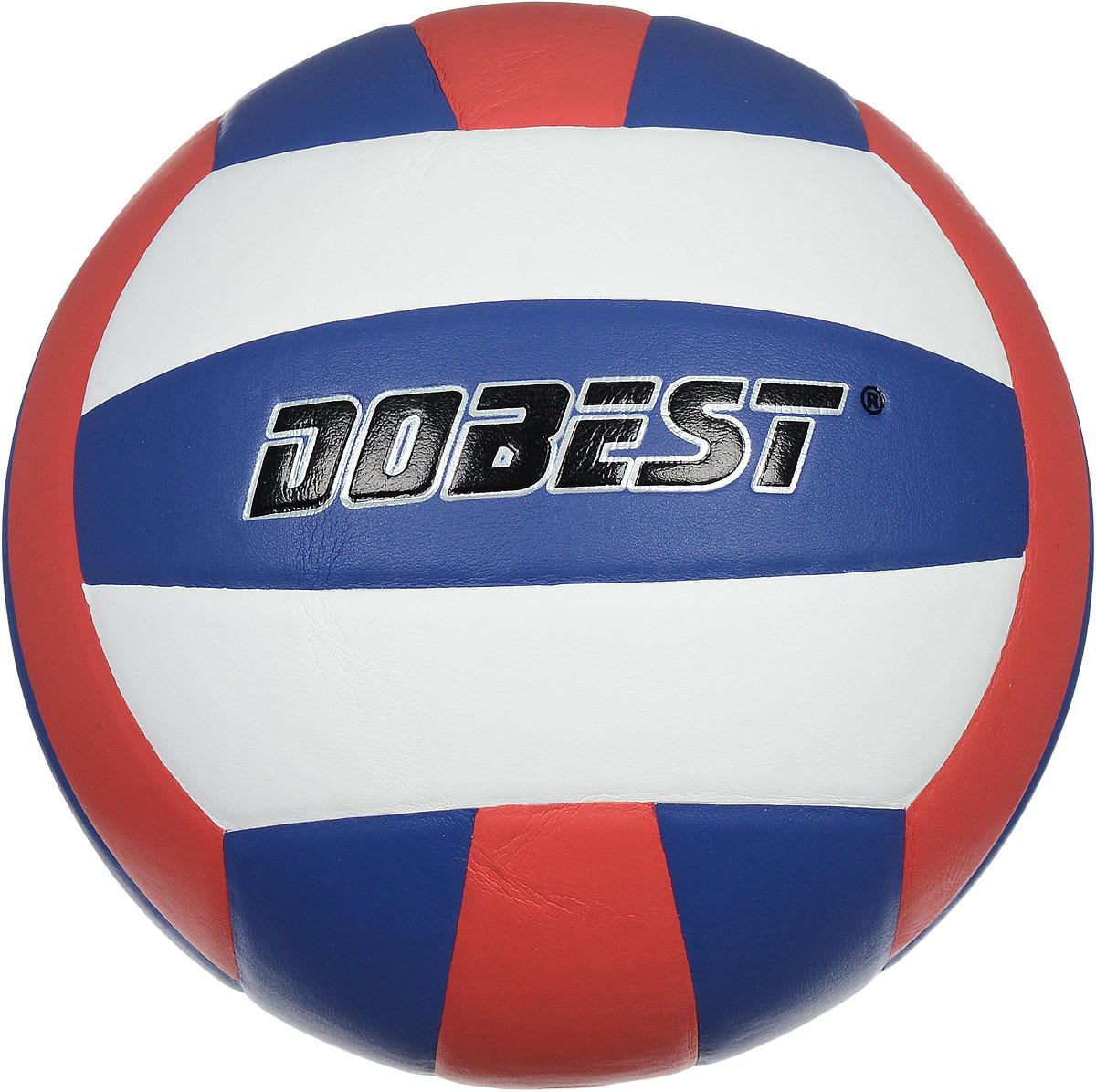 """Мяч волейбольный """"Dobest"""", цвет: белый, синий, красный. Размер 5"""