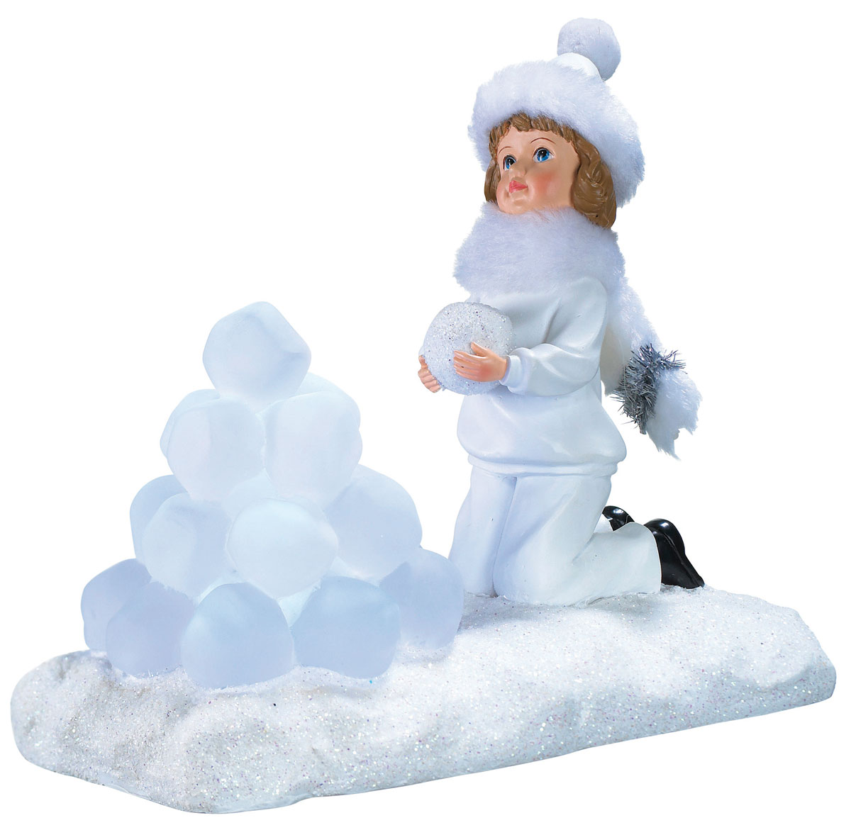 Новогодняя декоративная фигурка Девочка со снежками, с подсветкой1586044Новогодняя декоративная фигурка выполнена из акрила и пластика в виде девочки со снежками на подставке, украшенной белыми блестками. Шапочка и шарф у девочки выполнены из искусственного меха белого цвета. Изделие оснащено светодиодами. Свечение холодного белого цвета создаст атмосферу волшебства и праздника в вашем доме. Работает от батареек и от сети 220В. Адаптер входит в комплект.
