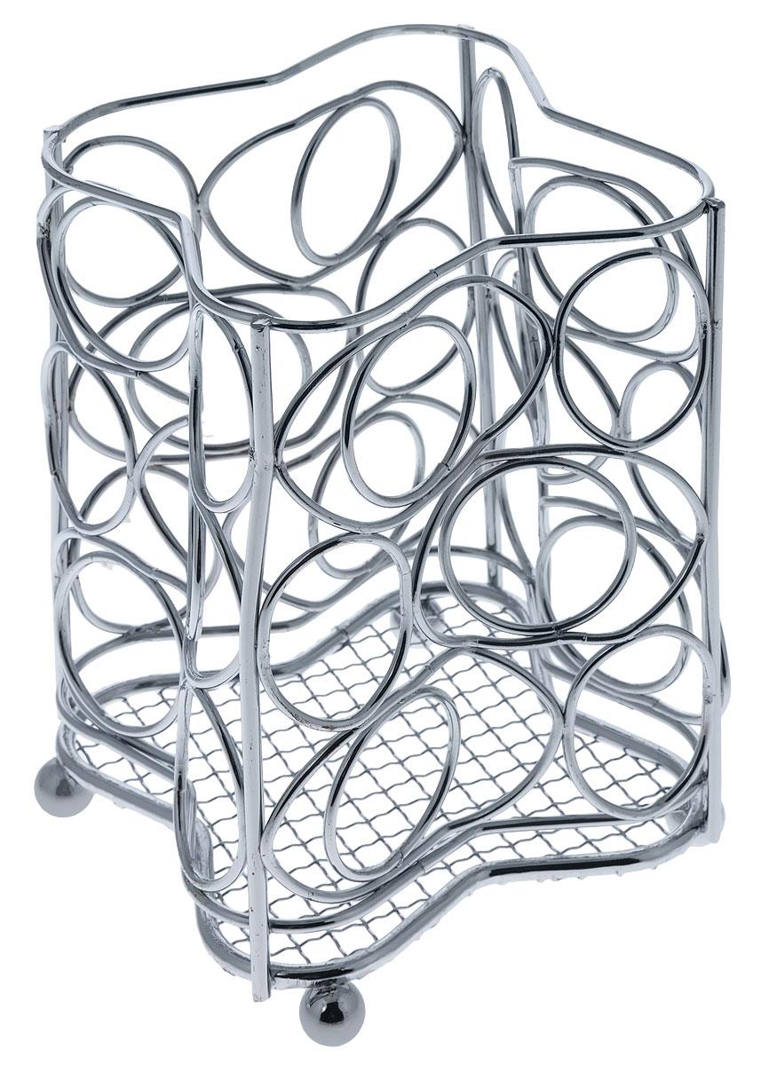 Подставка для столовых приборов Mayer & Boch, 10,5 см х 10,5 см х 16 см3415Квадратная подставка для столовых приборов Mayer & Boch, изготовленная из хромированной стали,оснащена четырьмя круглыми ножками, которые обеспечивают ей устойчивость на любой поверхности. Красивая подставка для столовых приборов выполнена в футуристическом дизайне. Она не займет многоместа, а столовые приборы будут всегда под рукой. Размеры поставки: 10,5 см х 10,5 см х 16 см.