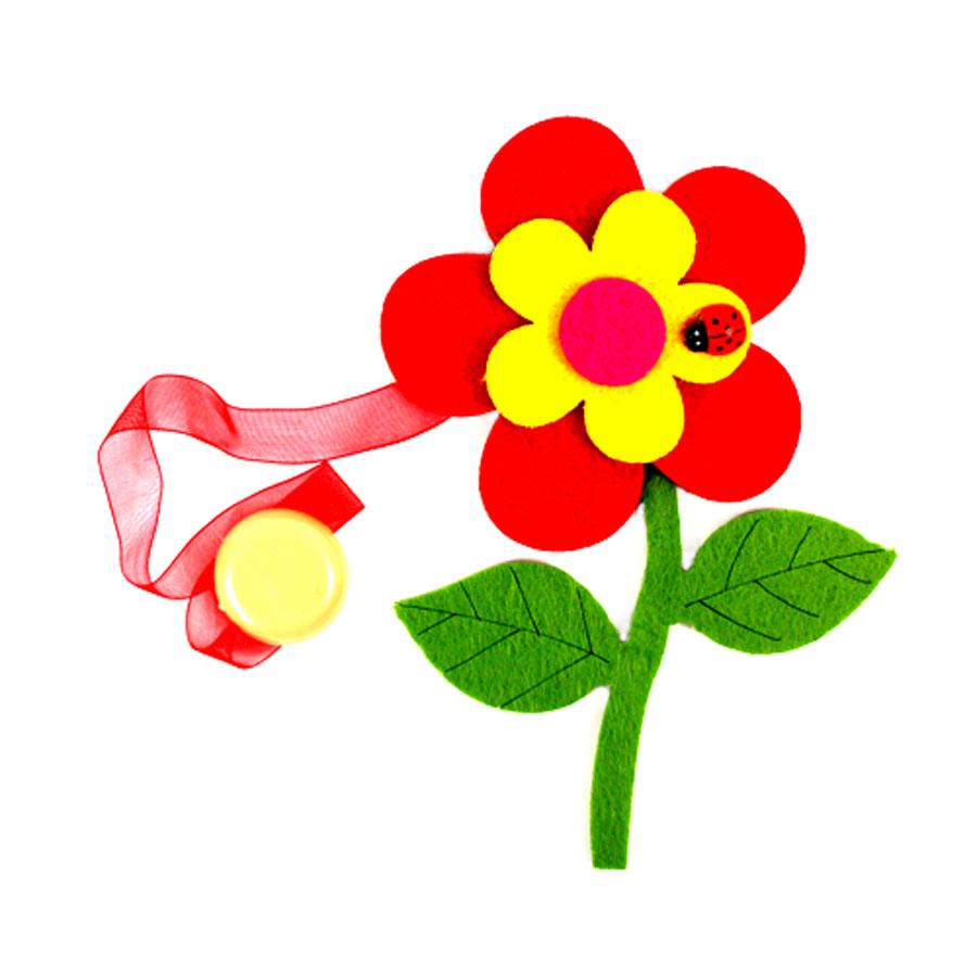 Клипса-магнит для штор Астра Цветок с декором, цвет: зеленый, красный, желтый, 15,5 см х 11 см7713420_ C171/C001Клипса-магнит Астра Цветок с декором, изготовленная из полиэстера и текстиля, предназначена для придания формы шторам. Изделие представляет собой два магнита, расположенные на разных концах текстильной ленты. Один из магнитов оформлен декоративным изображением цветка и божьей коровки. С помощью такой магнитной клипсы можно зафиксировать портьеры, придать им требуемое положение, сделать складки симметричными или приблизить портьеры, скрепить их. Клипсы для штор являются универсальным изделием, которое превосходно подойдет как для штор в детской комнате, так и для штор в гостиной. Следует отметить, что клипсы для штор выполняют не только практическую функцию, но также являются одной из основных деталей декора этого изделия, которая придает шторам восхитительный, стильный внешний вид.Размер декоративного элемента: 15,5 см х 11 см х 1,5 см.Диаметр магнита: 2 см.Длина ленты: 30 см.