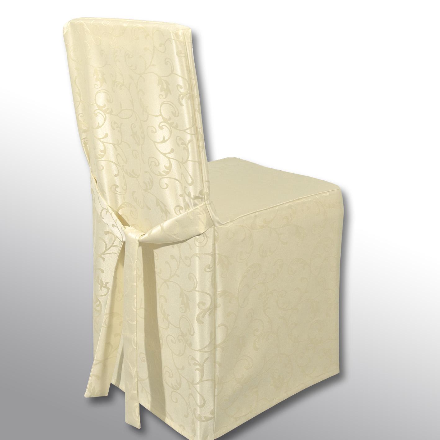 """Чехол на стул """"Schaefer"""" выполнен из полиэстера с красивым узором. На спинке чехол завязывается на завязки. Предназначен для классического стула со спинкой. Такой чехол изысканно дополнит интерьер вашего дома."""