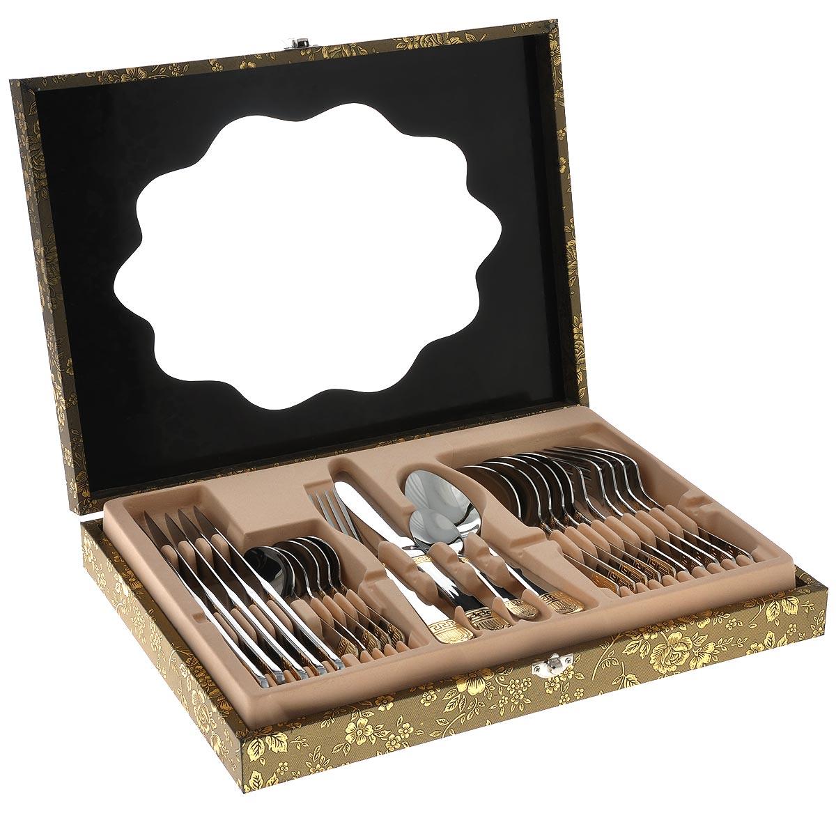 Набор столовых приборов Mayer&Boch, 25 предметов. 2334123341Набор столовых приборов Mayer & Boch выполнен из прочной нержавеющей стали. В набор входит 25 предметов: 6 обеденных ножей, 6 обеденных ложек, 6 обеденных вилок, 6 чайных ложек и кейс. Ручки приборов украшены красивым рельефным узором с матовым покрытием и золотистой окантовкой. Предметы набора расположены в красивом подарочном кейсе на замке. Крышка кейса выполнена из прозрачного пластика и украшена изящным изображением цветов.Столовые приборы высокого качества будут доставлять вам удовольствие при каждом приеме пищи. Они подойдут как для повседневного использования, так и для торжественных случаев. Длина обеденной ложки: 20 см. Размер рабочей поверхности ложки: 7 см х 4,5 см.Длина чайной ложки: 14,5 см. Размер рабочей поверхности чайной ложки: 4,5 см х 3 см.Длина ножа: 23 см. Длина лезвия ножа: 6,5 см.Размер кейса: 37,5 см х 27 см х 6 см.