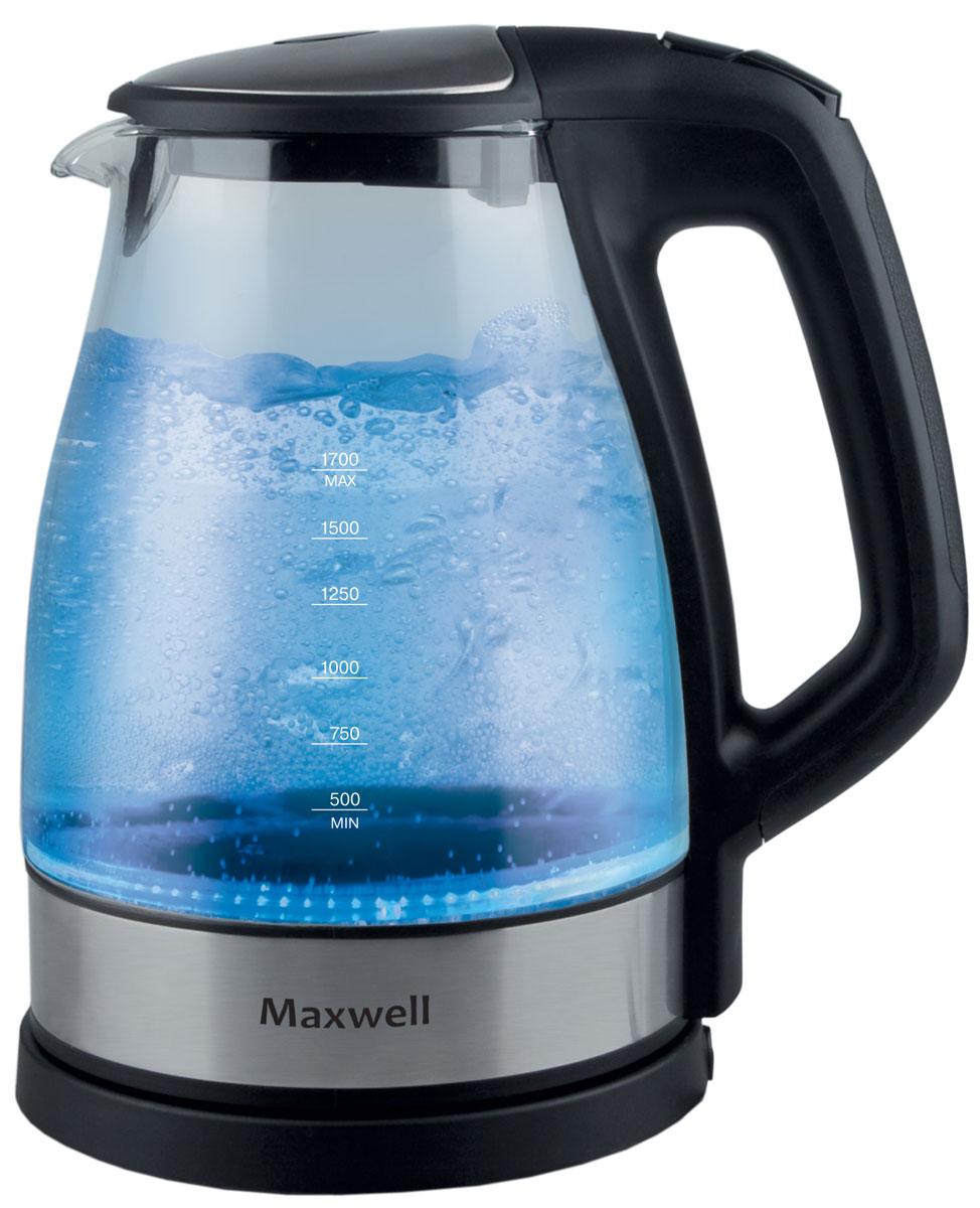 Maxwell MW-1075(ВК) электрический чайникMW-1075(BK)Корпус чайника Maxwell MW-1075 выполнен из стекла, не придающего посторонних привкусов воде, а потому вы насладитесь ароматом и насыщенным вкусом чая. Скрытый нагревательный элемент, индикация работы, подсветка, длинный сетевой шнур и блокировка работы техники при отсутствии воды в емкости - все это является неоспоримыми преимуществами этого устройства.Чайник Maxwell MW-1075 безопасен в использовании и автоматически отключается при закипании воды. Прибор выключается, когда воды в чайнике недостаточно. Он работает от электрической сети, поэтому потребностьиспользования газовой плиты исключена, что особенно важно при их эксплуатации детьми.Пользоваться электрическим чайником Maxwell MW-1075 очень просто. Налив воды в емкость, вам достаточно установить чайник на специальную подставку и включить его. Спустя несколько секунд вы можете наливать чай инаслаждаться горячим напитком.Скрытый нагревательный элемент – плоское дно Материал фильтра - нейлон