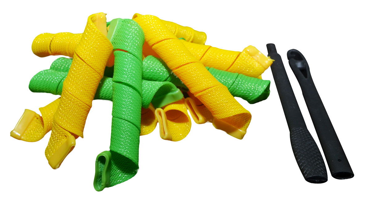 Magic Leverag Бигуди средние 25 см, 18 шт., цвет: желтый, зеленыйСр25_желтый, зеленыйMagic Leverag Бигуди средние 25 см, 18 шт., цвет: желтый, зеленый