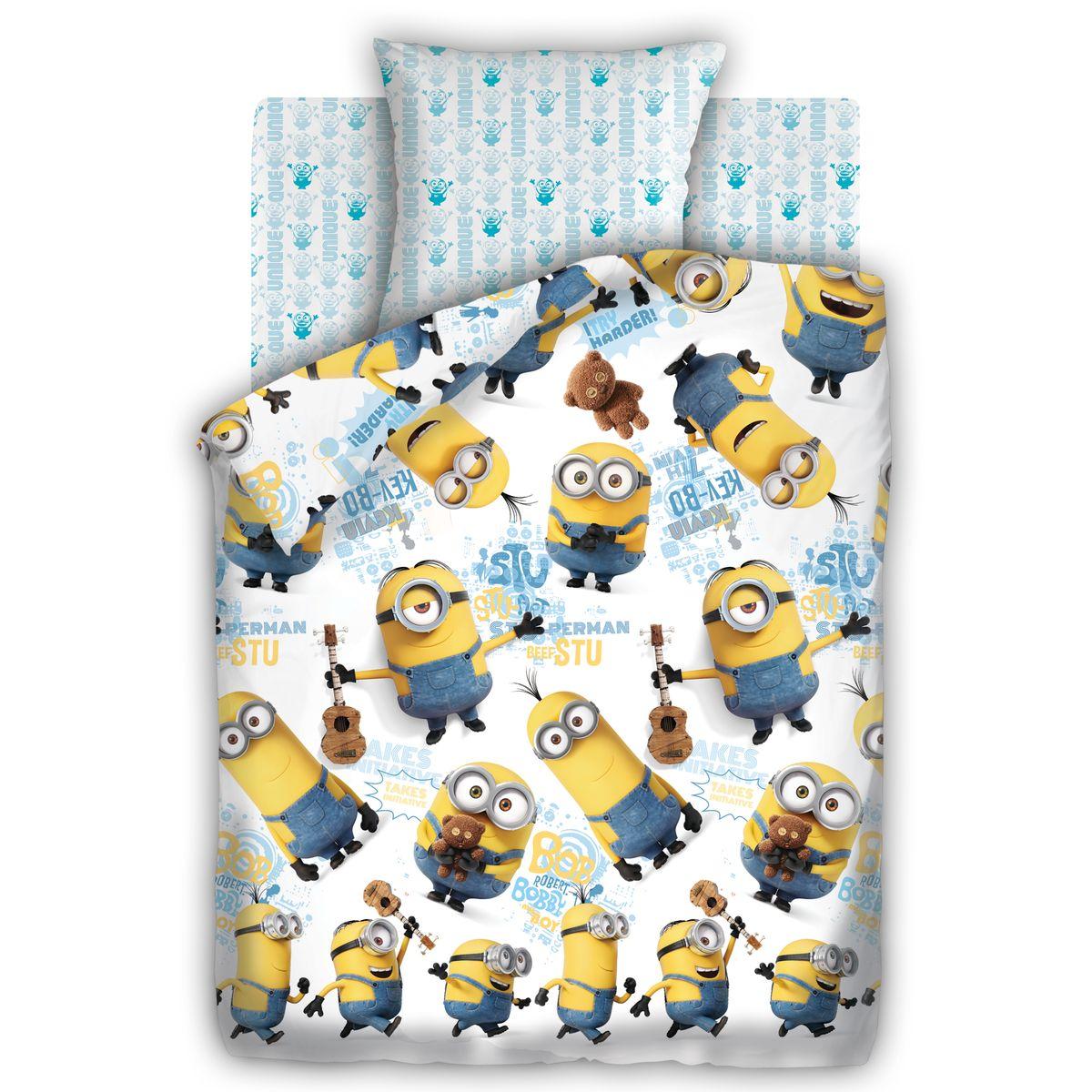 Миньоны Комплект постельного белья детский Уникумы 1,5-спальный наволочка 70х70327031