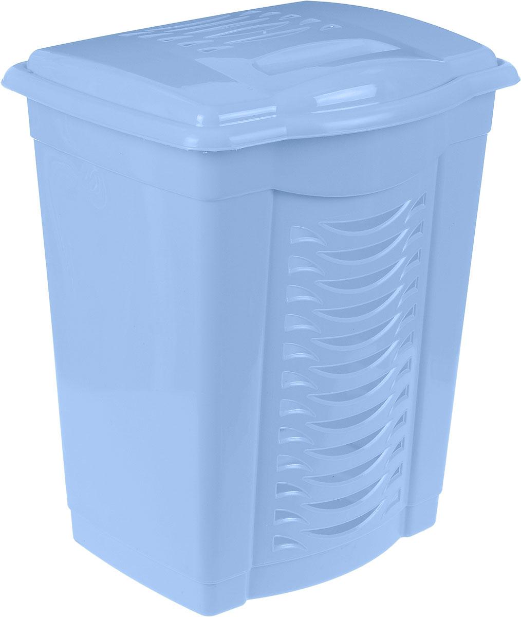 Корзина для белья Альтернатива, цвет: голубой, 60 лМ1361Легкая и удобная корзина Альтернатива прямоугольной формы изготовлена из пластика. Она отлично подойдет для хранения белья перед стиркой. Стенки корзины декорированы перфорацией, что создаст идеальные условия для естественной вентиляции. Корзина оснащена крышкой. Такая корзина для белья прекрасно впишется в интерьер ванной комнаты.