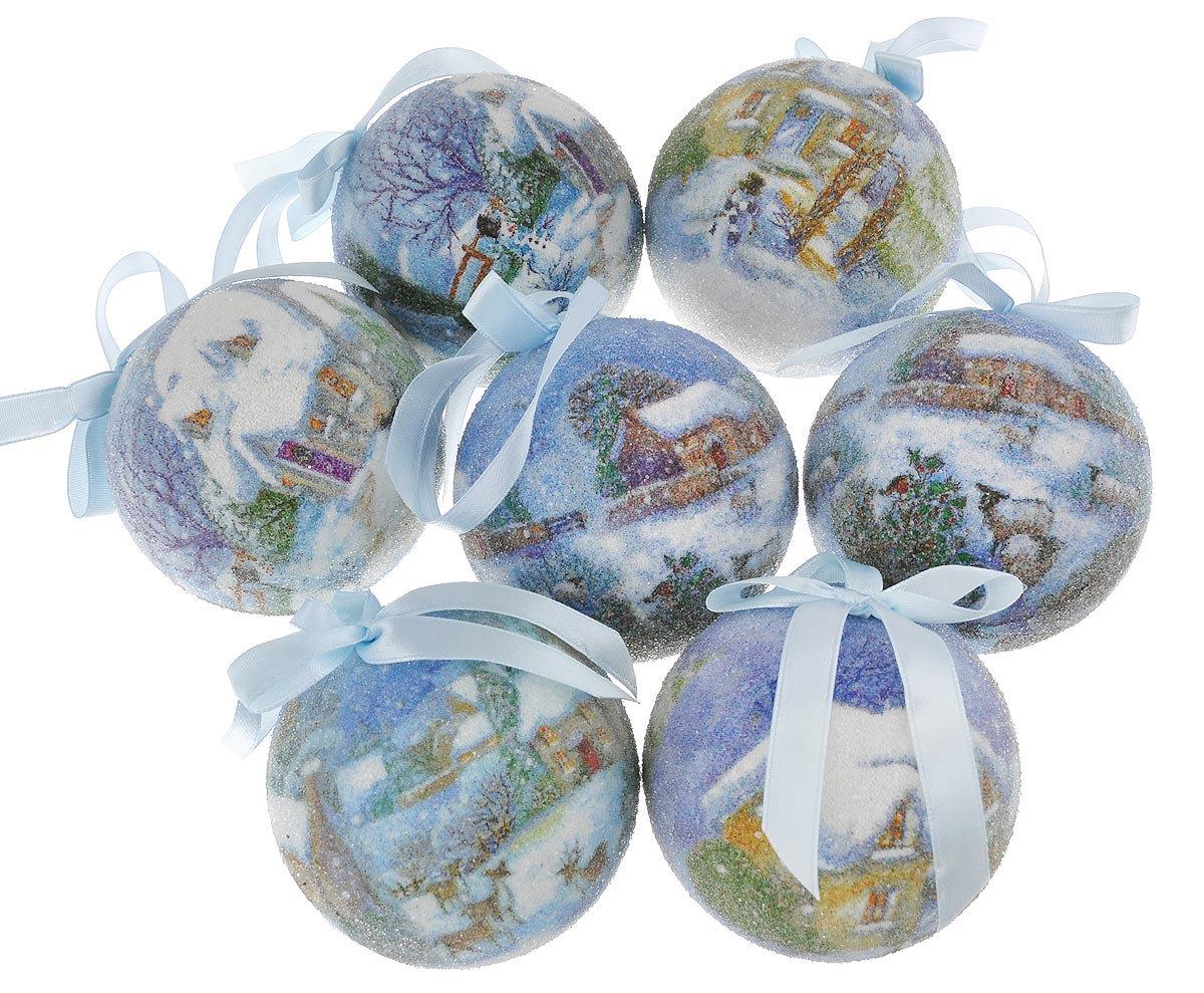 """Набор Winter Wings """"Новогодние пейзажи"""" отлично подойдет для декорации вашего дома и новогодней ели. Набор состоит из 7 украшений, выполненных из картона в виде шаров. Изделия оформлены новогодними пейзажами и покрыты декоративной прозрачной крошкой. Украшения оснащены специальными текстильными петельками для подвешивания.  Набор упакован в красочную подарочную коробку.  Елочная игрушка - символ Нового года. Она несет в себе волшебство и красоту праздника. Создайте в своем доме атмосферу веселья и радости, украшая всей семьей новогоднюю елку нарядными игрушками, которые будут из года в год накапливать теплоту воспоминаний."""