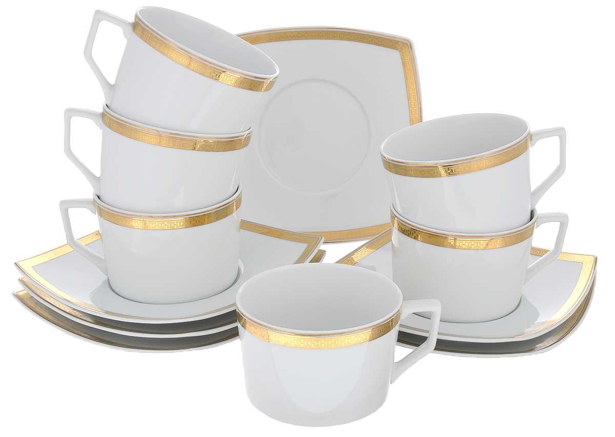 Набор чайный Yves De La Rosiere Kyoto, цвет: белый, золотистый, 12 предметов719506 1555Чайный набор Yves De La Rosiere Kyoto состоит из шести чашек и шестиблюдец, оформленных золотистой каймой. Предметы набора изготовлены из высококачественного фарфора. Изящный дизайн придется по вкусу и ценителям классики, и тем, ктопредпочитает утонченность и изысканность. Он настроит на праздничный лад иподарит хорошее настроение с самого утра. Чайный набор - идеальный и необходимый подарок для вашего дома и для вашихдрузей в праздники, юбилеи и торжества! Он также станет отличнымкорпоративным подарком и украшением любой кухни. Объем чашки: 220 мл. Диаметр чашки (по верхнему краю): 9 см.Высота чашки: 6 см.Размер блюдца: 15,5 см х 15,5 см.Высота блюдца: 2,5 см.