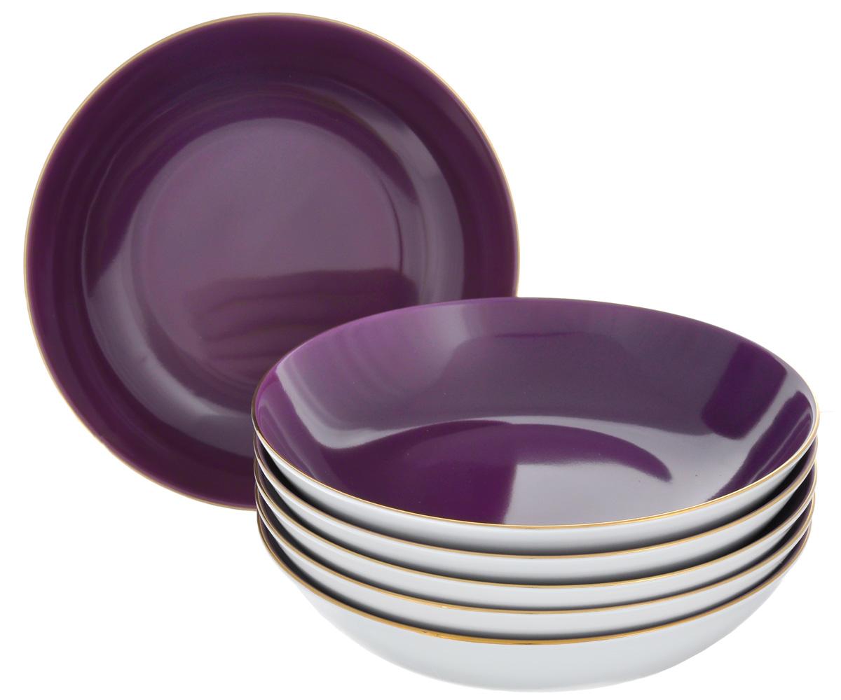 Набор глубоких тарелок Yves De La Rosiere Monalisa, цвет: фиолетовый, белый, диаметр 20 см, 6 шт5591053124Набор Yves De La Rosiere Monalisa состоит из шести глубоких тарелок,оформленных золотистой каймой. Предметы набора изготовлены извысококачественного фарфора.Изящный дизайн придется по вкусу и ценителям классики, и тем, кто предпочитает утонченность и изысканность. Он настроит на праздничный лад и подарит хорошее настроение с самого утра.Диаметр тарелки (по верхнему краю): 20 см. Высота тарелки: 4,9 см.