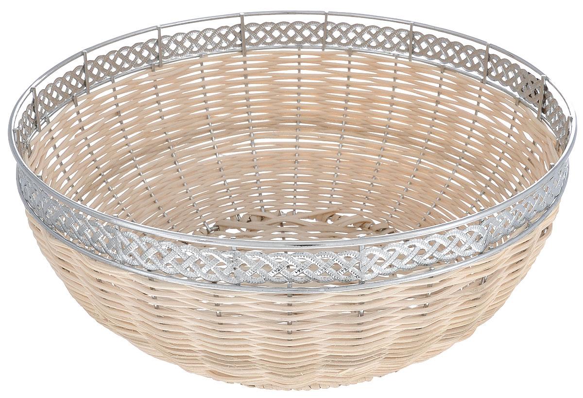 """Оригинальная плетеная корзинка """"Mayer & Boch"""" круглой формы, выполнена из металла и  ротанга. Корзинка прекрасно подойдет для вашей кухни. Она  предназначена для красивой сервировки как хлебобулочной продукции, так и фруктов. Изящный дизайн  придется по вкусу и ценителям классики, и тем, кто предпочитает утонченность и изысканность.   Диаметр (по верхнему краю): 27 см. Высота: 12,3 см."""