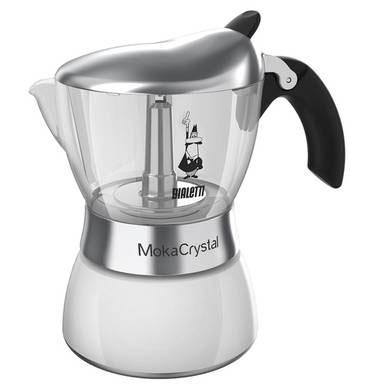 Кофеварка гейзерная Bialetti Moka Crystal, цвет: белый, прозрачный, на 6 чашек4323Компактная гейзерная кофеварка Bialetti Moka Crystal изготовлена из высококачественного алюминия. С помощью прозрачного стекла верхней части вам удобно будет наблюдать за процессом приготовления эспрессо. Объема кофе хватает на 6 чашек. Изделие оснащено удобной ручкой из бакелита.Принцип работы такой гейзерной кофеварки - кофе заваривается путем многократного прохождения горячей воды или пара через слой молотого кофе. Удобство кофеварки в том, что вся кофейная гуща остается во внутренней емкости. Гейзерные кофеварки пользуются большой популярностью благодаря изысканному аромату. Кофе получается крепкий и насыщенный. Теперь и дома вы сможете насладиться великолепным эспрессо. Подходит для газовых, электрических и стеклокерамических плит. Нельзя мыть в посудомоечной машине. Высота (с учетом крышки): 20 см.