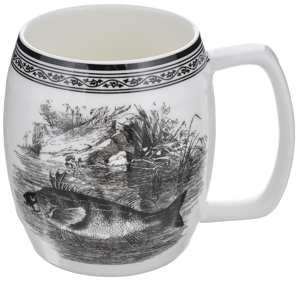 Кружка пивная Elan Gallery Удачная рыбалка, 700 мл530020Большая кружка Elan Gallery Удачная рыбалка, выполненная из керамики, станет оригинальным подарком любимым мужчинам! Идеальна для тех, кто предпочитает большие кружки, и для любителей чая, кофе и пенных напитков. Не рекомендуется применять абразивные моющие средства.Не использовать в микроволновой печи.
