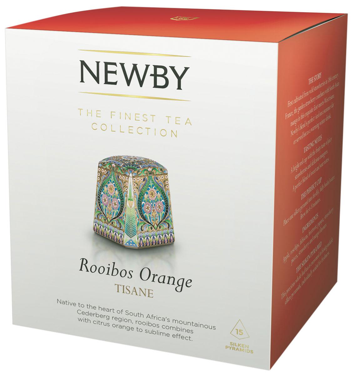 Newby Roiboos Orange травяной чай в пирамидках, 15 шт601220ANewby Roiboos Orange с цедрой апельсина дает мягкий настой ярко-оранжевого цвета с фруктово-цитрусовыми нотками. Каждая пирамидка упакована в индивидуальное саше из алюминиевой фольги для сохранения свежести ингредиентов.Всё о чае: сорта, факты, советы по выбору и употреблению. Статья OZON Гид