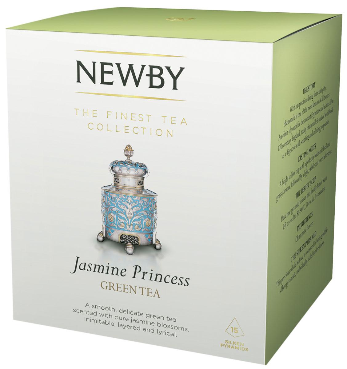 Newby Jasmine Princes зеленый чай в пирамидках, 15 шт newby masala chai черный листовой чай со специями в пирамидках 15 шт
