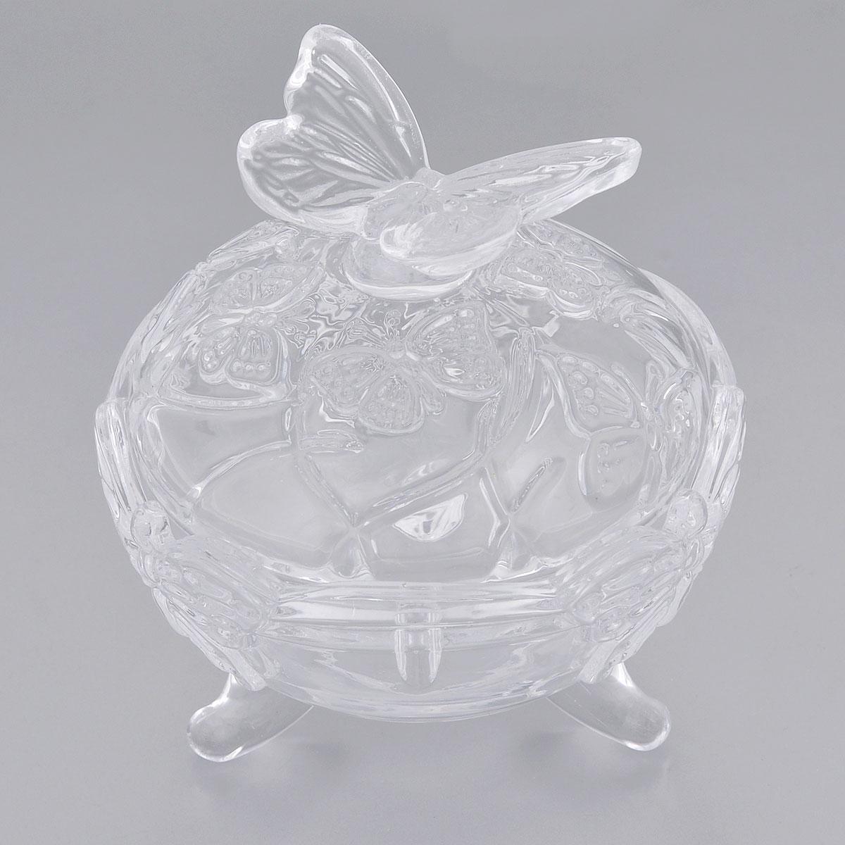 Конфетница Elan Gallery Бабочки, с крышкой, диаметр 10,5 см890114Элегантная конфетница Elan Gallery Бабочки, изготовленная из прочного стекла, имеет многогранную рельефную поверхность в виде бабочек. Конфетница оснащена ножками и крышкой с удобной ручкой. Изделие предназначено для подачи сладостей (конфет, сахара, меда, изюма, орехов и многого другого). Она придает легкость, воздушность сервировке стола и создаст особую атмосферу праздника. Конфетница Elan Gallery Бабочки не только украсит ваш кухонный стол и подчеркнет прекрасный вкус хозяина, но и станет отличным подарком для ваших близких и друзей. Диаметр конфетницы (по верхнему краю): 10,5 см.Высота конфетницы (с учетом крышки): 11,5 см.