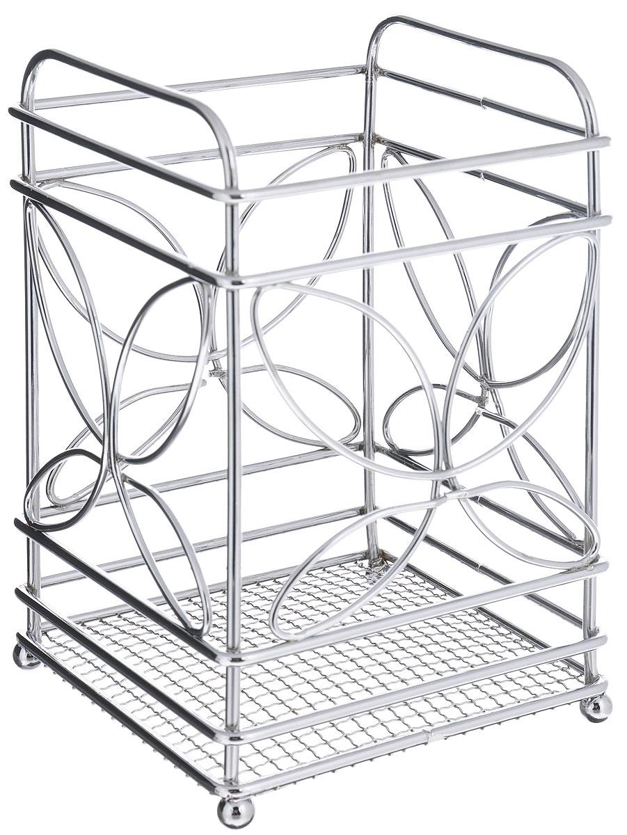 Подставка для столовых приборов Mayer & Boch20089Квадратная подставка для столовых приборов Mayer & Boch, изготовленная из хромированной стали и металла,оснащена четырьмя круглыми ножками, которые обеспечивают ей устойчивость на любой поверхности. Красивая подставка для столовых приборов выполнена в футуристическом дизайне. Она не займет многоместа, а столовые приборы будут всегда под рукой.