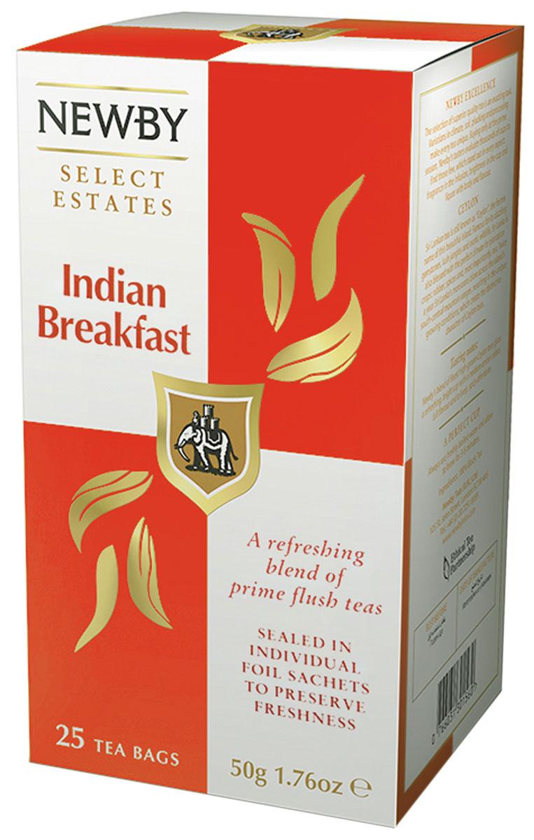 Newby Indian Breakfast черный чай в пакетиках, 25 шт310040Эксклюзивный купаж Newby Indian Breakfast из индийского чая Ассам и высокогорных сортов чая с Гималаев - классика, которая отлично взбодрит утром и тонизирует днем. Чай Indian Breakfast придаст сил и снимет усталость.
