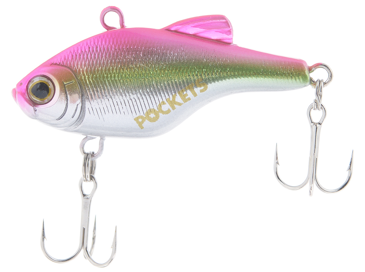 Воблер Maria Pockets Vib, тонущий, цвет: розовый, зеленый, серебряный, 4 см, 4,4 г