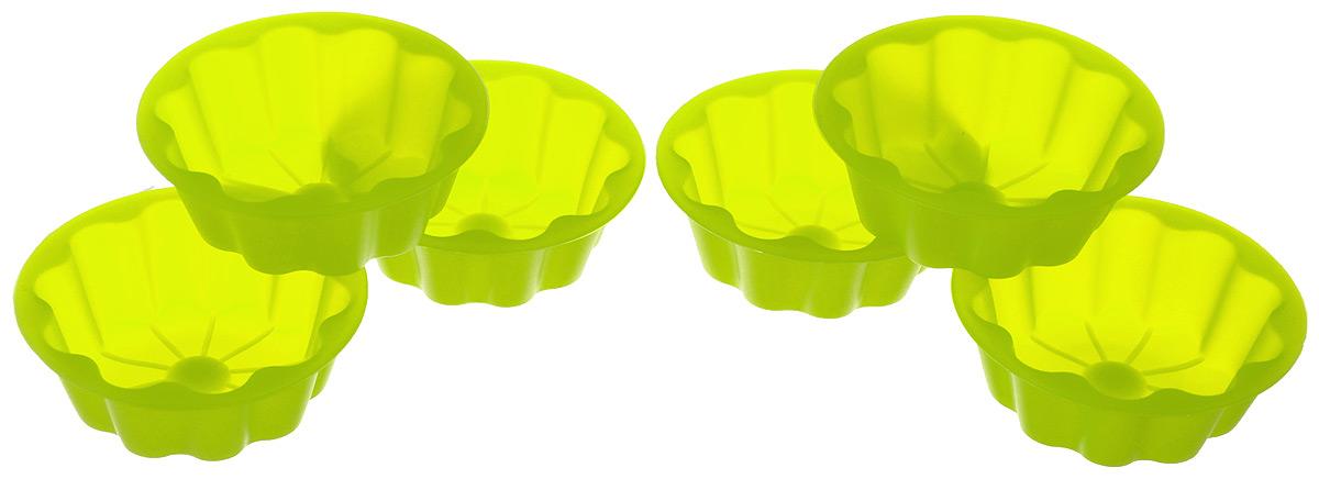 Набор формочек для выпечки Mayer & Boch Солнце, цвет: салатовый, диаметр 8 см, 6 шт20052Набор Mayer & Boch Солнце состоит из шести форм для выпечки, изготовленных из высококачественного силикона, выдерживающего температуру от -40°C до +210°C. Формы выполнены в виде солнца с лучиками. Если вы любите побаловать своих домашних вкусным и ароматным угощением по вашему оригинальному рецепту, то набор формочек Mayer & Boch Цветочек как раз то, что вам нужно!Диаметр формы (по верхнему краю): 8 см. Высота стенки: 2,5 см. Объем формочек: 60 мл.