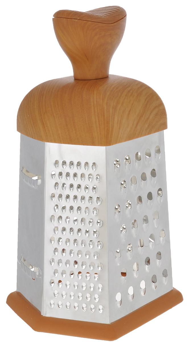 Терка Mayer & Boch, шестигранная. 88658865Терка Mayer & Boch изготовлена из высококачественной нержавеющей стали. Терка оснащена удобной ручкой, выполненной из пластика под дерево, которая не позволит изделию выскользнуть из рук. На одной терке представлены шесть видов терок - крупная, мелкая, терка для овощных пюре, фигурная, шинковка и шинковка фигурная. Специальная резиновая накладка на дне терки предотвращает скольжение.Каждая хозяйка оценит все преимущества этой терки. Благодаря этому можно удовлетворить любые потребности по нарезке различных продуктов. Наслаждайтесь приготовлением пищи с многофункциональной теркой Mayer & Boch.