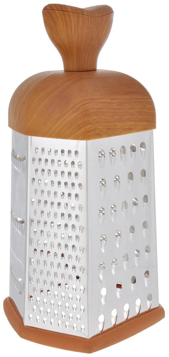 Терка Mayer & Boch, шестигранная. 88668866Терка Mayer & Boch изготовлена из высококачественной нержавеющей стали. Терка оснащена удобной ручкой, выполненной из пластика под дерево, которая не позволит изделию выскользнуть из рук. На одной терке представлены шесть видов терок - крупная, мелкая, терка для овощных пюре, фигурная, шинковка и шинковка фигурная. Специальная резиновая накладка на дне терки предотвращает скольжение.Каждая хозяйка оценит все преимущества этой терки. Благодаря этому можно удовлетворить любые потребности по нарезке различных продуктов. Наслаждайтесь приготовлением пищи с многофункциональной теркой Mayer & Boch.