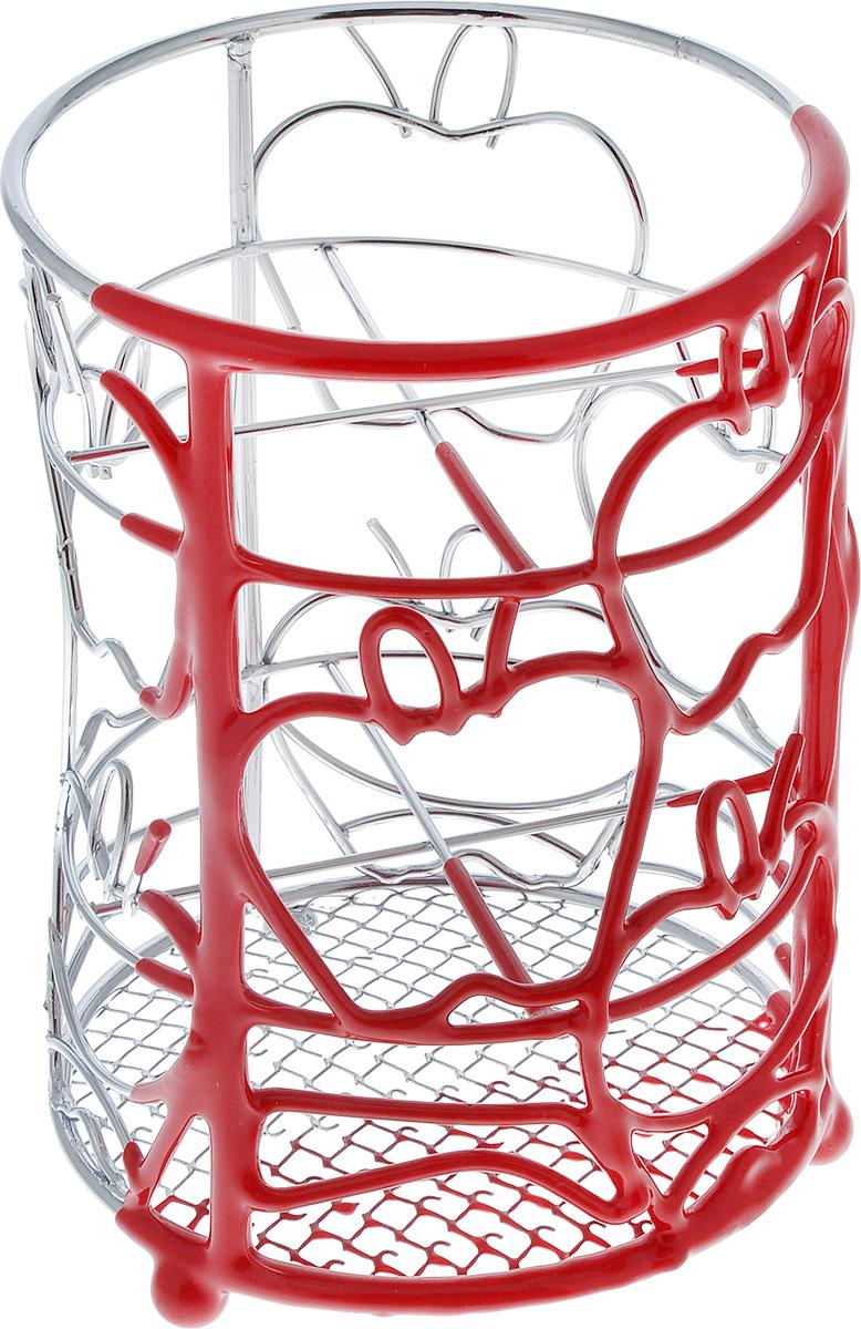 Подставка для столовых приборов Mayer & Boch Яблоко, цвет: красный20097Подставка для столовых приборов Mayer & Boch Яблоко, изготовленная из хромированной стали и металла, оснащена тремя ножками, две из которых оформлены нескользящим покрытием, что обеспечит ей устойчивость на любой поверхности. Красивая подставка для столовых приборов оформлена декоративным цветным элементом из ПВХ и выполнена в футуристическом дизайне. Она не займет много места, а столовые приборы будут всегда под рукой.