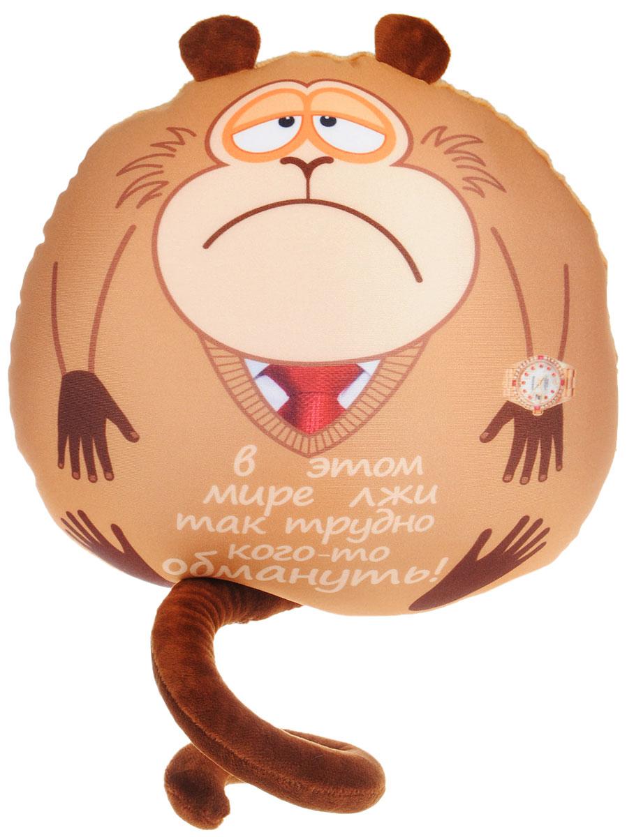 СмолТойс Мягкая игрушка-подушка Обезьянка Жужу с часами 28 см