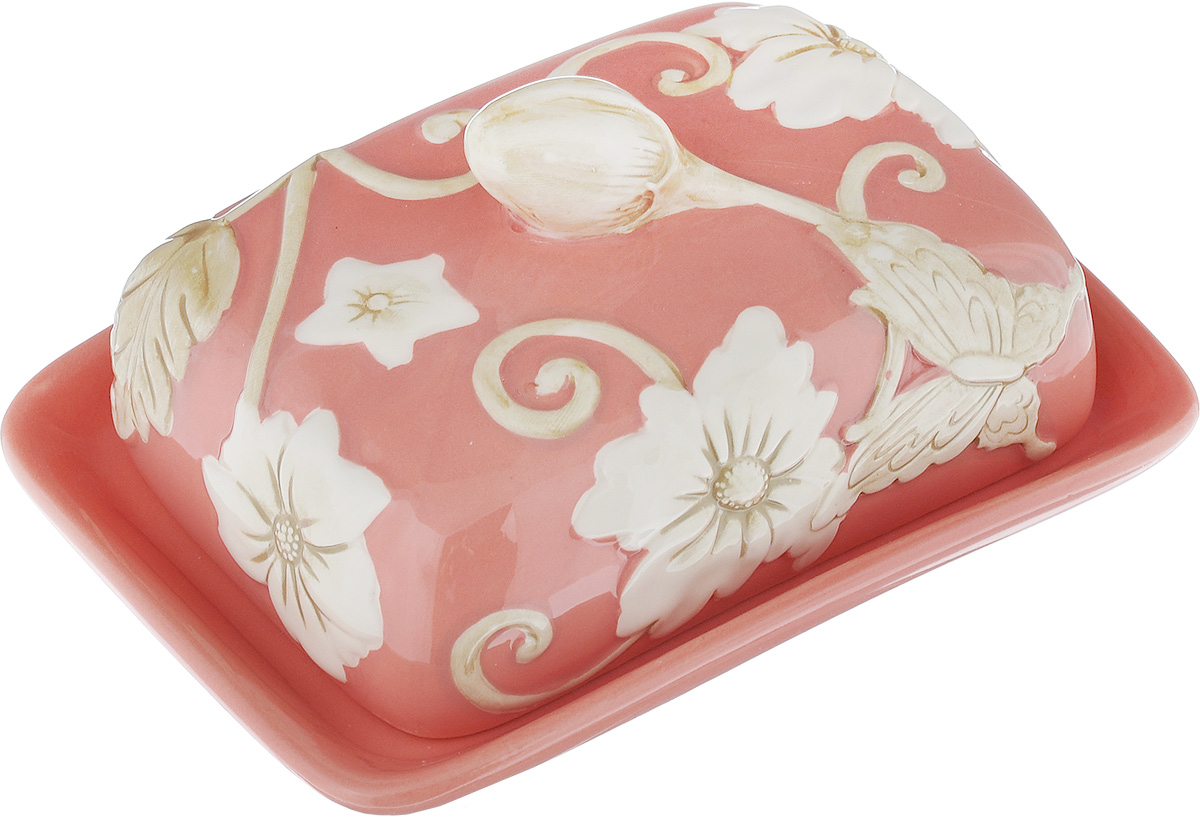 Масленка Mayer & Boch Розы. 2244422444Масленка Mayer & Boch Розы, выполненная из высококачественной керамики в виде подноса с крышкой, станет не заменимым помощником на вашей кухне. Изделие оформлено объемным изображением цветов и имеет изысканный внешний вид. Масленка предназначена для красивой сервировки стола и хранения масла.Можно мыть в посудомоечной машине, использовать в микроволновой печи и холодильнике.Размер подноса: 16,5 см х 12,5 см х 2,5 см.Высота масленки (с учетом крышки): 8 см.