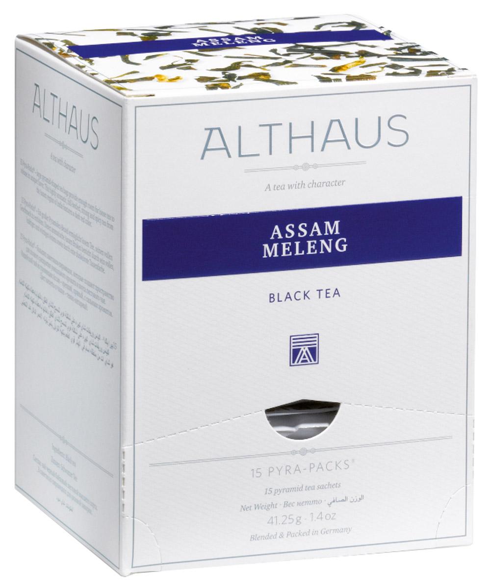 Althaus Assam Meleng чай черный в пирамидках, 15 штTALTHL-L00141Althaus Assam Meleng — классический индийский черный чай из всемирно известного штата Ассам, выращенный на равнинах в долине великой реки Брахмапутры.Этот сорт чая дает бодрящий свежий настой с насыщенным приятным вкусом и мягким солодовым оттенком. В его пряном, немного цветочном аромате ощущаются необычные для черного чая медовые нотки. Несмотря на свой терпко-вяжущий вкус, в целом этот чай более мягкий и бархатистый, чем традиционные цейлонские сорта.Pyra-Pack - это коллекция из 13 купажей, в которую вошли лучшие сорта высококачественного листового чая, а также отборные смеси из цельных кусочков фруктов, ягод, цветочных лепестков, целебных трав. Pyra-Pack представляет собой инновационный вариант высокотехнологичной упаковки - нейлоновые пирамидки: Пакетики в форме пирамидок создают пространство для свободного распределения чаинок, тем самым повышая степень и скорость экстракции чая. Нейлон обладает отличной пропускной способностью, поэтому чай, заваренный в нейлоновых пирамидках, получается особо насыщенным по вкусу и ароматным. Пирамидки максимально упрощают процедуру заваривания чая, при этом сохраняя эстетический эффект традиционного чаепития.