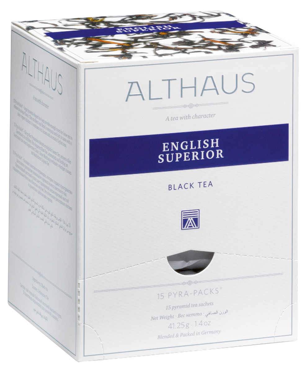 Althaus English Superior чай черный в пирамидках, 15 штTALTHL-L00140Althaus English Superior - немного терпкий чай с едва заметным травяным привкусом, превосходно сбалансированный, объединяющий в себе легкую мармеладную кислинку, манящую сладость теплого бисквита и огненную нотку поджаренных хлебных злаков.Напиток дает насыщенный настой с золотистым отливом и красивым глянцевитым блеском, как у свежего гречишного меда. Яркий, сочный, но очень мягкий аромат, как воздух осеннего леса, дополняется ноткой пикантной сладости спелых фруктов. После добавления свежего молока запах этого чая напоминает аромат теплого тоста с медом.Pyra-Pack - это коллекция из 13 купажей, в которую вошли лучшие сорта высококачественного листового чая, а также отборные смеси из цельных кусочков фруктов, ягод, цветочных лепестков, целебных трав. Pyra-Pack представляет собой инновационный вариант высокотехнологичной упаковки - нейлоновые пирамидки: Пакетики в форме пирамидок создают пространство для свободного распределения чаинок, тем самым повышая степень и скорость экстракции чая. Нейлон обладает отличной пропускной способностью, поэтому чай, заваренный в нейлоновых пирамидках, получается особо насыщенным по вкусу и ароматным. Пирамидки максимально упрощают процедуру заваривания чая, при этом сохраняя эстетический эффект традиционного чаепития.Всё о чае: сорта, факты, советы по выбору и употреблению. Статья OZON Гид