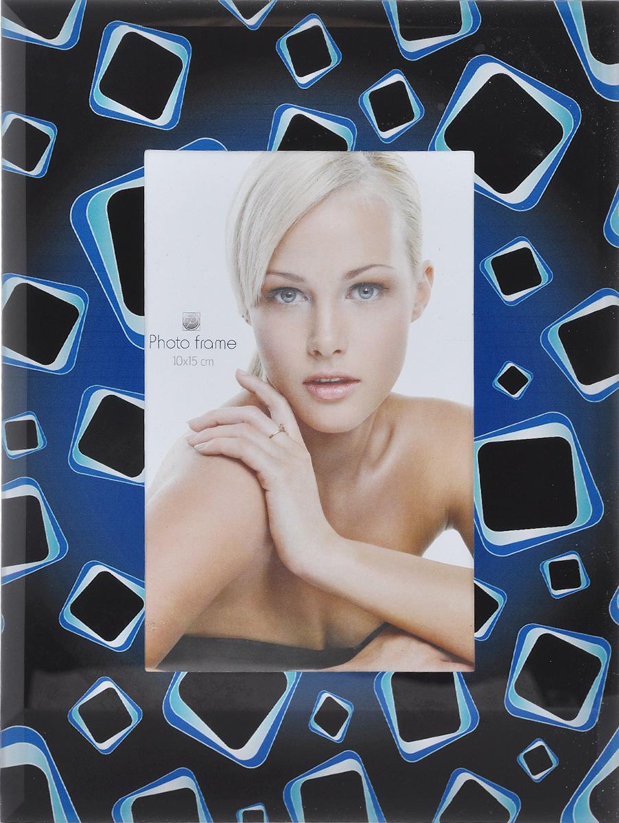 Фоторамка Pioneer Flat, 10 см х 15 см. 1483914839 2011JSG-012/18/45_черный, синий квадратыФоторамка Pioneer Flat выполнена из высококачественного стекла, защищающего фотографию. Изделие оформлено изысканным рисунком. Оборотная сторона рамки оснащена специальной ножкой, благодаря которой ее можно поставить на стол или любое другое место в доме или офисе.Такая фоторамка поможет вам оригинально и стильно дополнить интерьер помещения, а также позволит сохранить память о дорогих вам людях и интересных событиях вашей жизни.