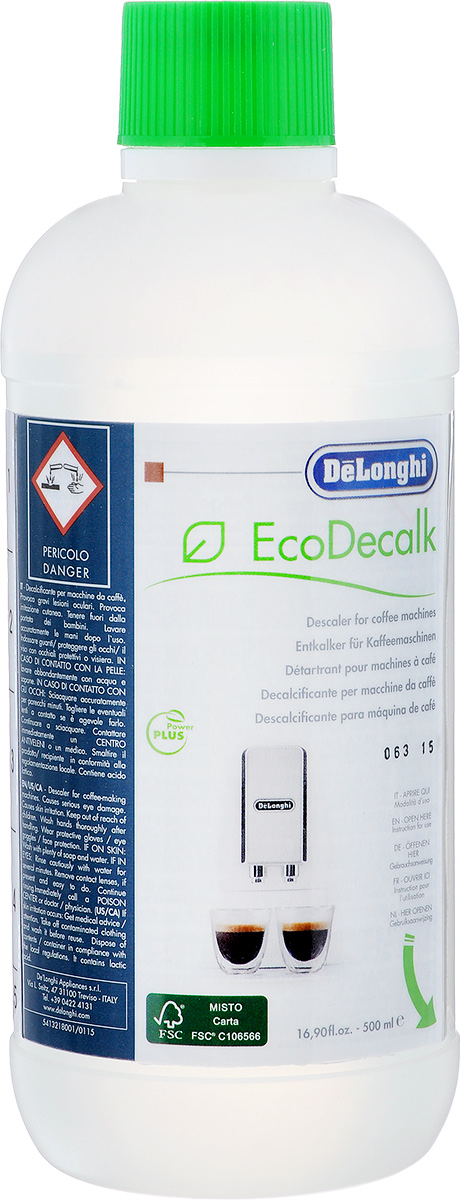 Антинакипин DeLonghi Eco Decalk для автоматических кофемашин, 500 мл delonghi eco 311 blue