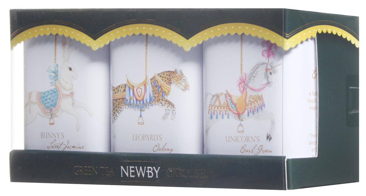 Newby Carousel Gift Set - Green Teas подарочный набор зеленого листового чая (3 вкуса), 75 г (ж/б)