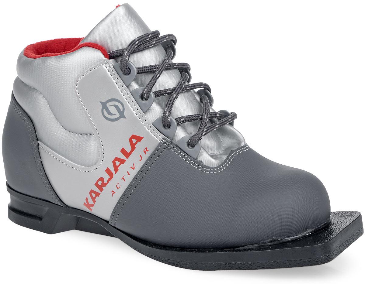 Ботинки лыжные детские Karjala Activ JR, цвет: серый, красный. Размер 31 лыжные куртки женские