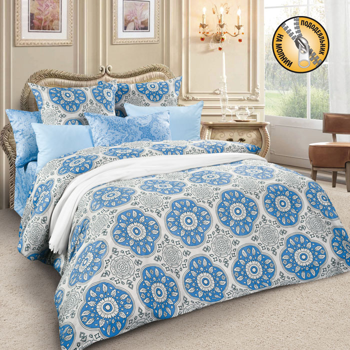 Комплект белья Letto, 2-спальный, наволочки 70х70, цвет: серый, голубой. sm61-4, Letto Home Textile