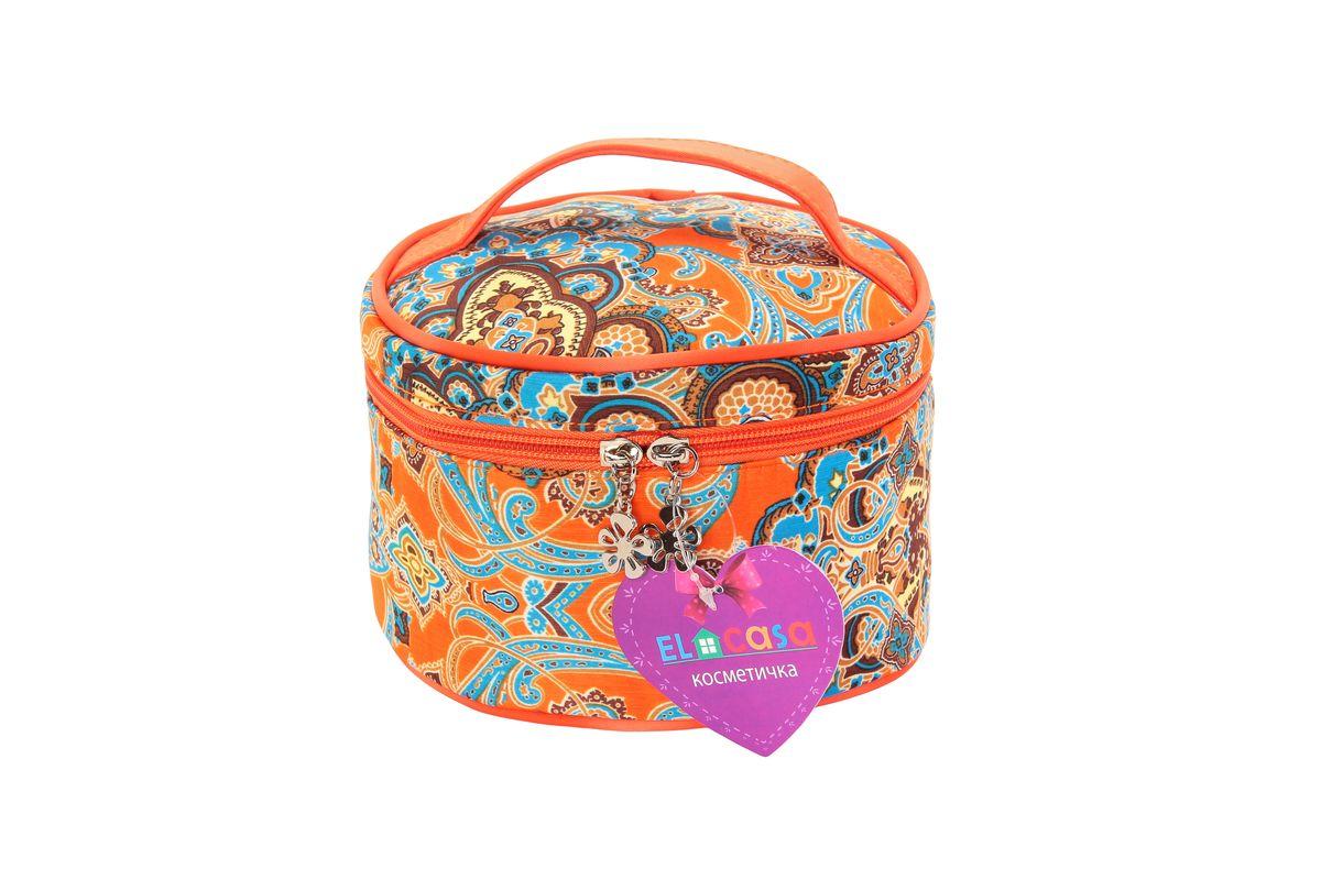 """Органайзер для косметики El Casa """"Узоры"""", цвет: оранжевый, голубой, светло-коричневый, 17 х 17 х 11 см. 790106"""