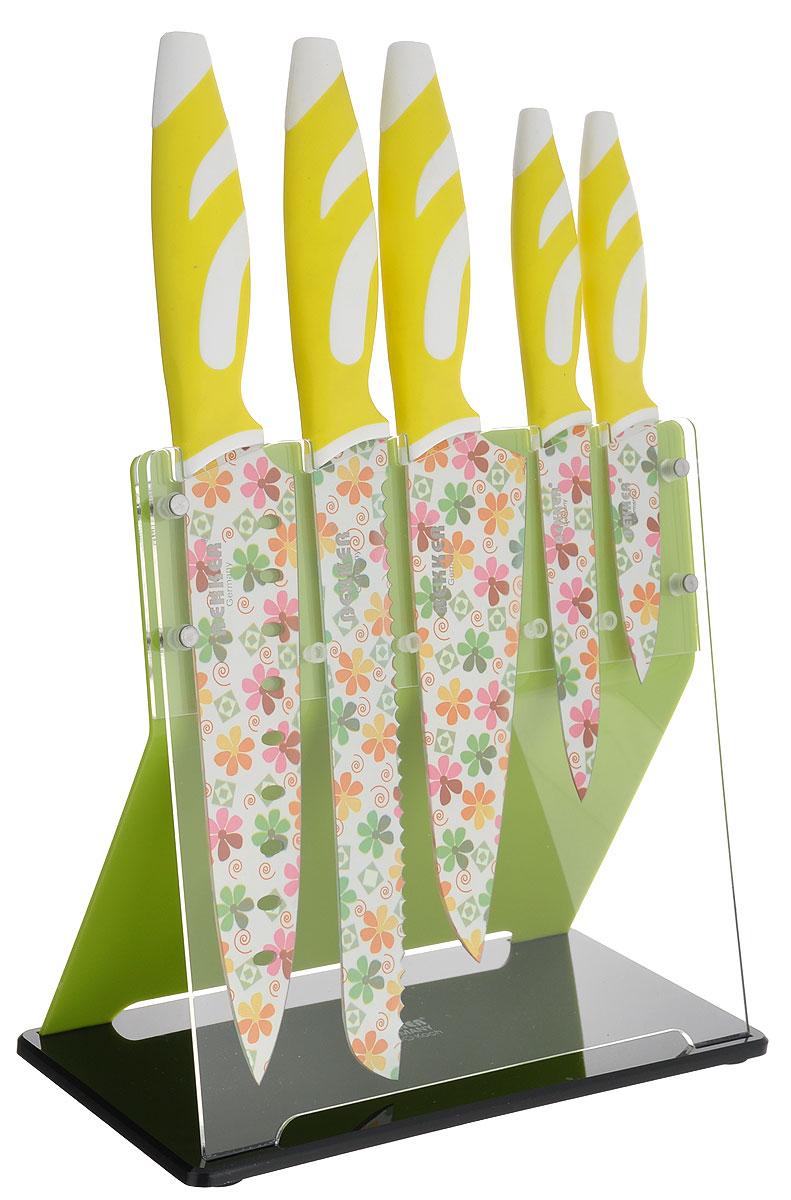 Набор ножей Bekker Koch, цвет: салатовый, белый, 6 предметов. BK-8445 термос bekker koch с контейнерами цвет оранжевый салатовый 1 л