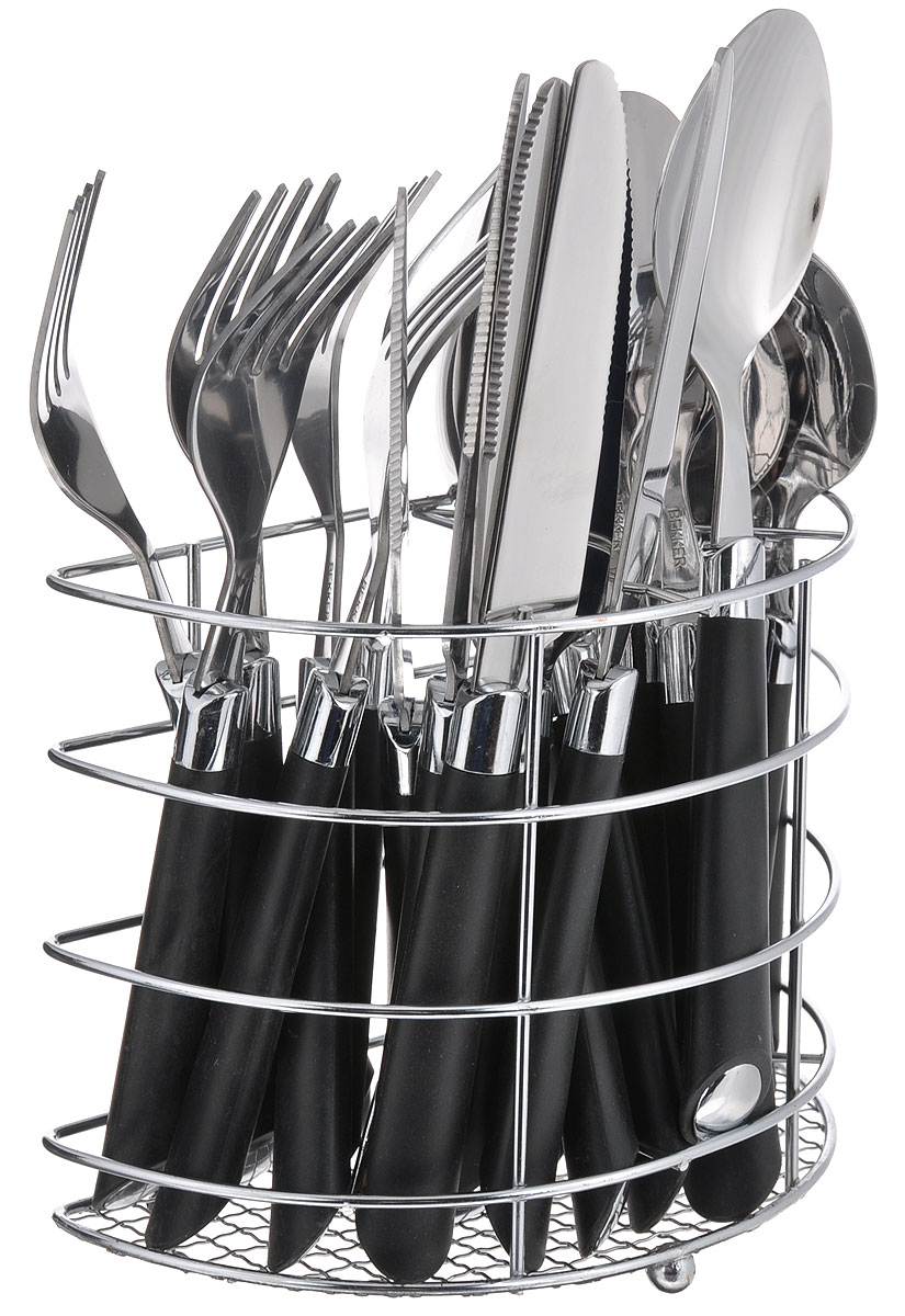 Набор столовых приборов Bekker Koch, 25 предметов. BK-3306BK-3306_черныйНабор столовых приборов Bekker Koch выполнен из прочной полированной нержавеющей стали и высококачественного пластика. В набор входят 6 столовых ложек, 6 вилок, 6 чайных ложек и 6 ножей. Приборы имеют оригинальные удобные ручки с цветными пластиковыми вставками. Прекрасное сочетание яркого дизайна и удобства использования предметов набора придется по душе каждому. Изделия расположены на металлической подставке, что удобно для хранения набора прямо на столе или столешнице. Набор столовых приборов Bekker Koch подойдет как для ежедневного использования, так и для торжественных случаев.Длина ножа: 22,5 см. Длина столовой ложки: 21 см. Длина вилки: 20 см. Длина чайной ложки: 17,5 см. Размер подставки (ДхШхВ): 17 см x 8,5 см x 13,5 см.