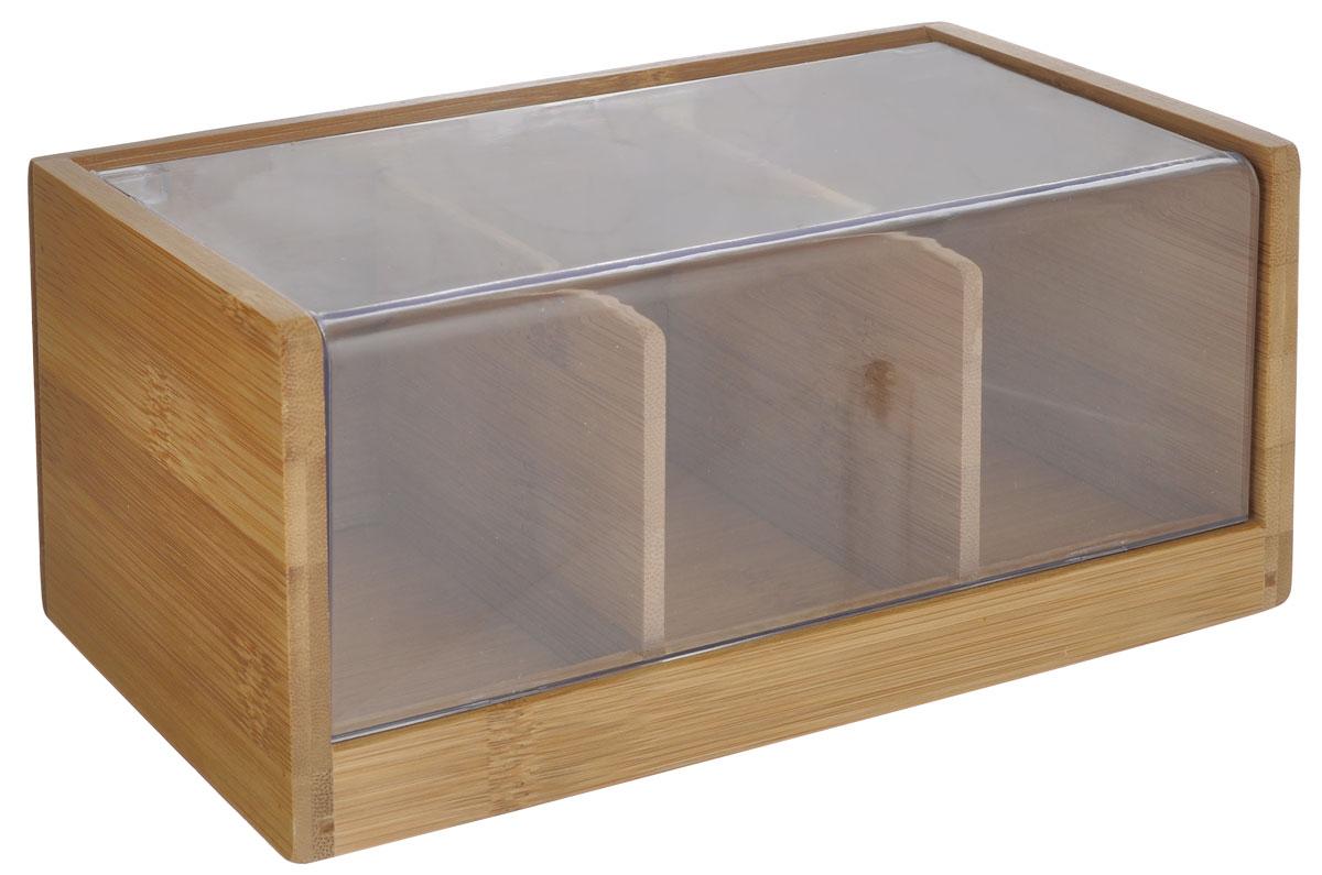 Ящик для хранения чая Oriental way, 22 х 11 х 9,5 смNL118909Ящик Oriental way, выполненный из бамбука, предназначен для хранения чая. В нем имеется три отделения. Ящик закрывается крышкой с прозрачной пластиковой вставкой, которая позволяет видеть содержимое. Ящик Oriental way займет достойное место на любой кухне и послужит украшением кухонного интерьера.Размер ящика: 22 см х 11 см х 9,5 см.
