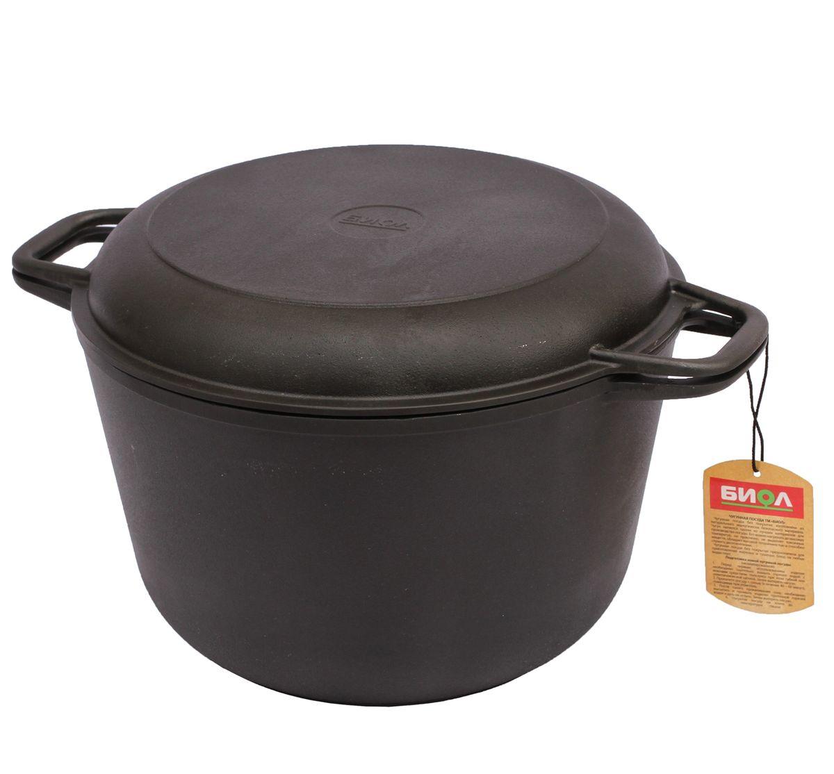 Кастрюля чугунная 6,0 л с крышкой-сковородой БИОЛ кастрюля с крышкой сковородой биол 6 л 0206