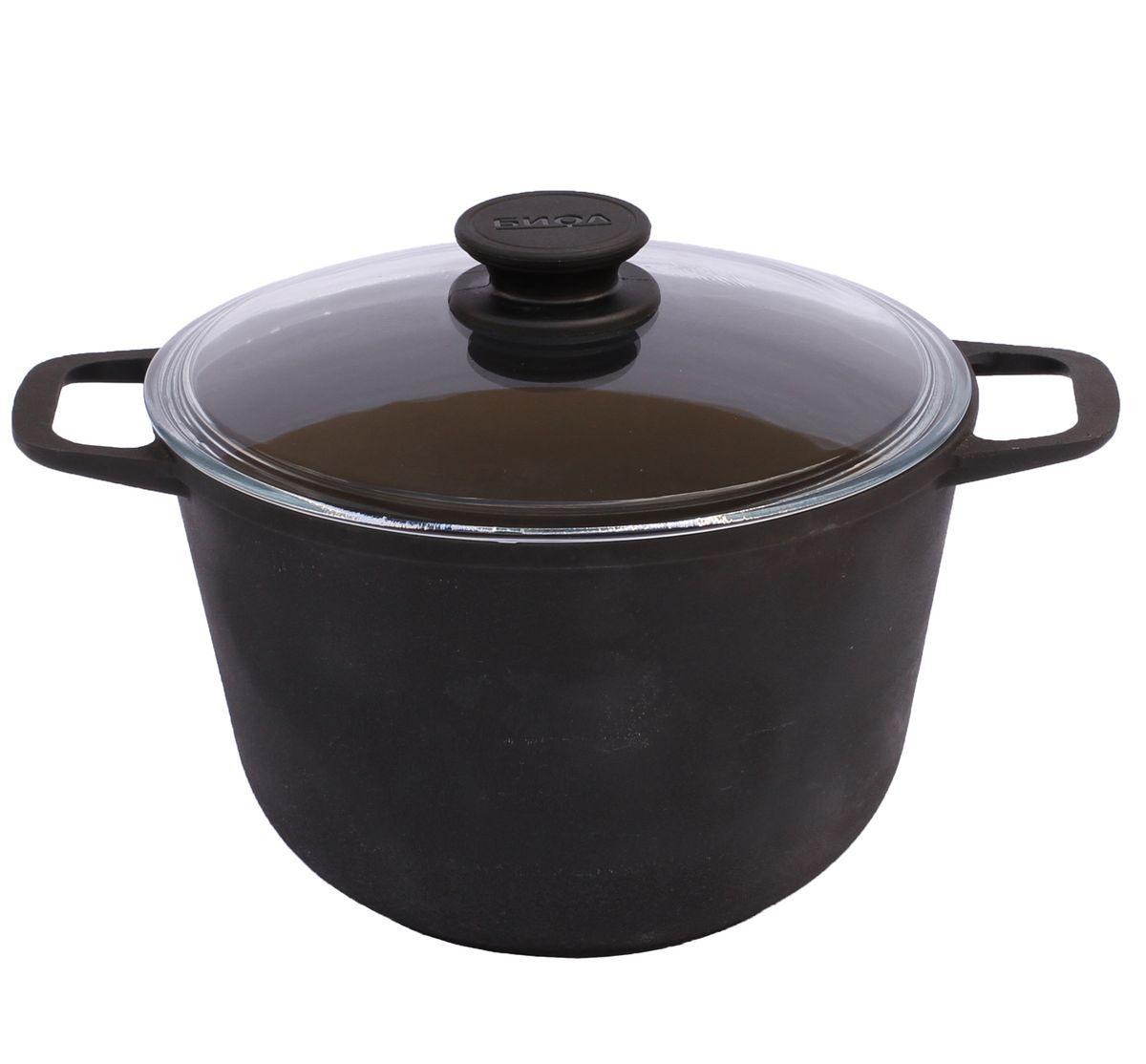 Кастрюля чугунная Биол с крышкой, 6 л кастрюли биол набор посуды 260 3 кастрюля 5 л и сковорода 26 см со стекл крышкой биол