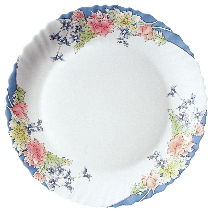 Тарелка Luminarc Florine, диаметр 25 смH4267Белоснежная тарелка с цветочным принтом и рельефным бордюром Florine, изготовленная из ударопрочного стекла, декорирована красочным цветочным изображением, добавит кухне весеннего настроения и романтики. Такая тарелка прекрасно подходит как для торжественных случаев, так и для повседневного использования. Идеальна для подачи десертов, пирожных, тортов и многого другого. Она прекрасно оформит стол и станет отличным дополнением к вашей коллекции кухонной посуды. Можно использовать в СВЧ и мыть в посудомоечной машине. Диаметр тарелки (по верхнему краю): 25 см. Высота тарелки: 2 см.