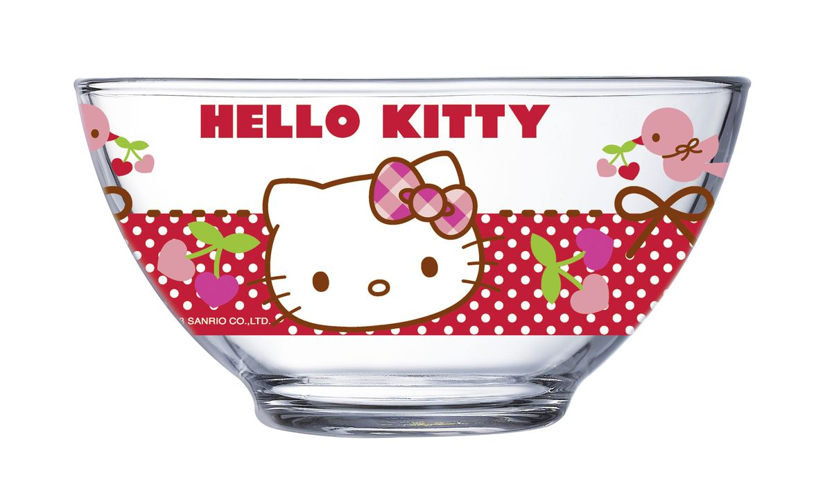 Салатник Luminarc Hello Kitty, 500 млJ0025Салатник Luminarc Hello Kitty, объемом 500 мл, порадует вашего ребенка. Идеален для сервировки легких летних салатов. Материал: ударопрочное стекло, устойчивое к резким перепадам температуры.Можно мыть в посудомоечной машине и использовать в СВЧ.