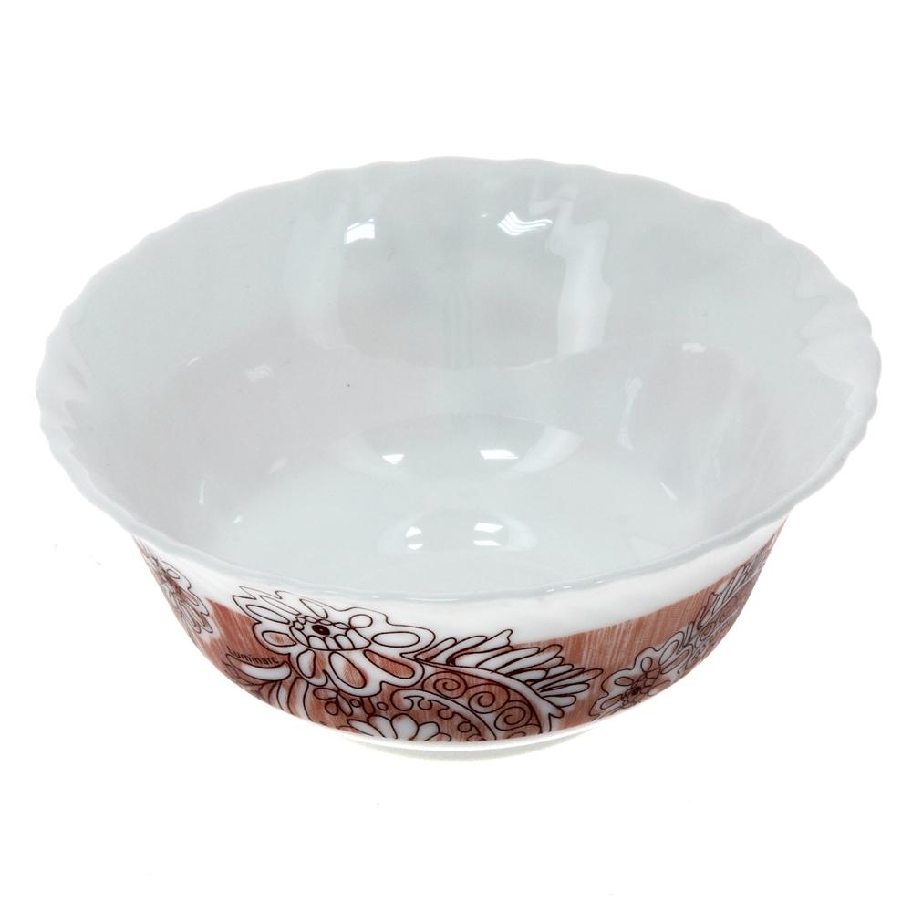 Салатник Luminarc Minelli, цвет: белый, коричневый, диаметр 12,5 смJ7038Салатник Luminarc Minelli, изготовленный из высококачественного стекла, прекрасно впишется в интерьер вашей кухни и станет достойным дополнением к кухонному инвентарю. Салатник оформлен ярким рисунком. Такой салатник не только украсит ваш кухонный стол и подчеркнет прекрасный вкус хозяйки, но и станет отличным подарком.Диаметр по верхнему краю: 12,5 см.