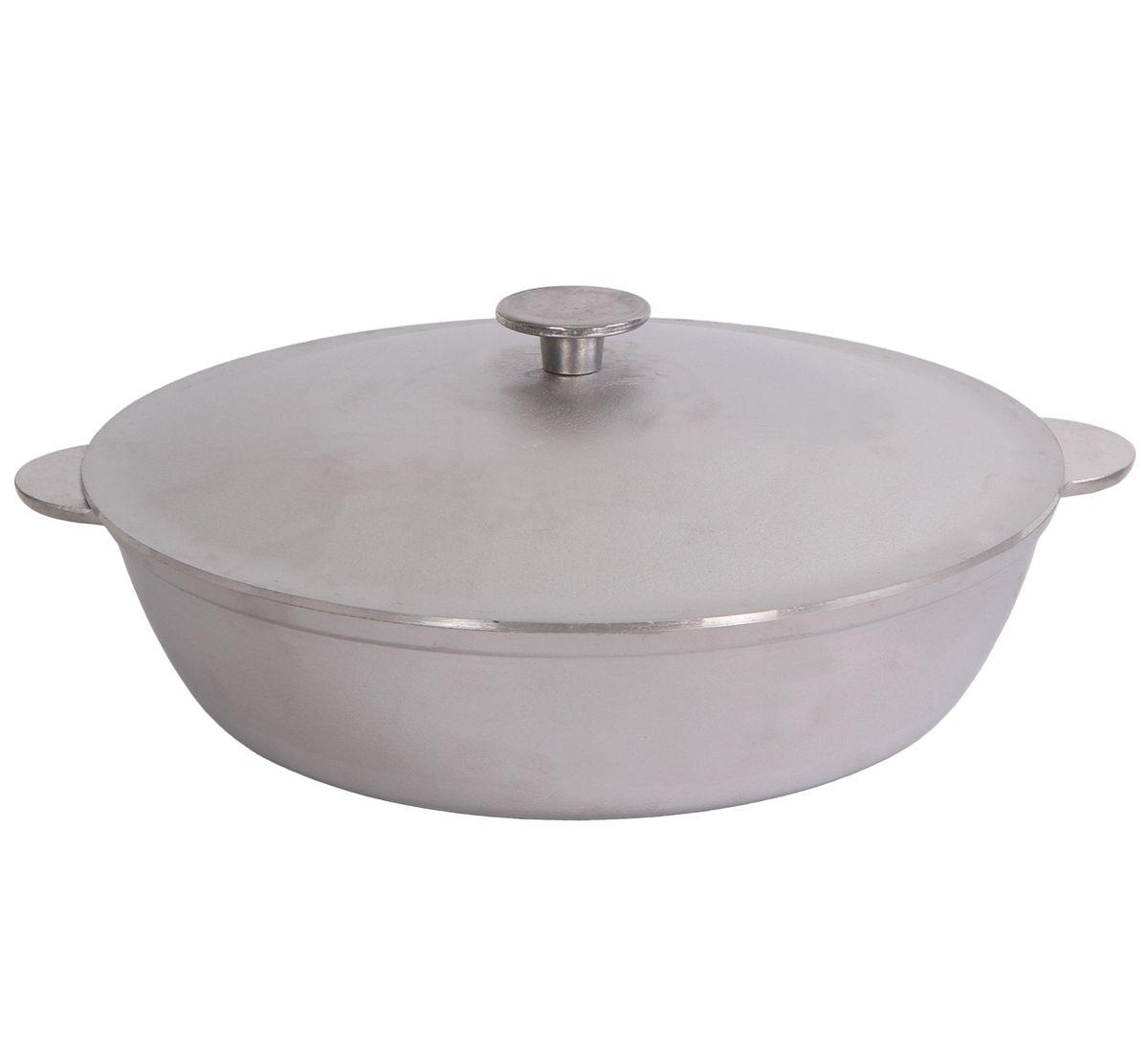 Сковорода Биол с крышкой. Диаметр 32 смА323Сковорода Биол изготовлена из литого алюминия. Изделие оснащено плотно прилегающей крышкой, позволяющей сохранить аромат готовящегося блюда.Сковорода снабжена двумя эргономичными ручками. Нельзя оставлять приготовленную пищу в посуде для хранения. Сковороду можно использовать на газовых, электрических и стеклокерамических плитах. Высота стенки: 8,3 см.Диаметр (по верхнему краю): 32 см.Ширина (с учетом ручек): 37,5 см.