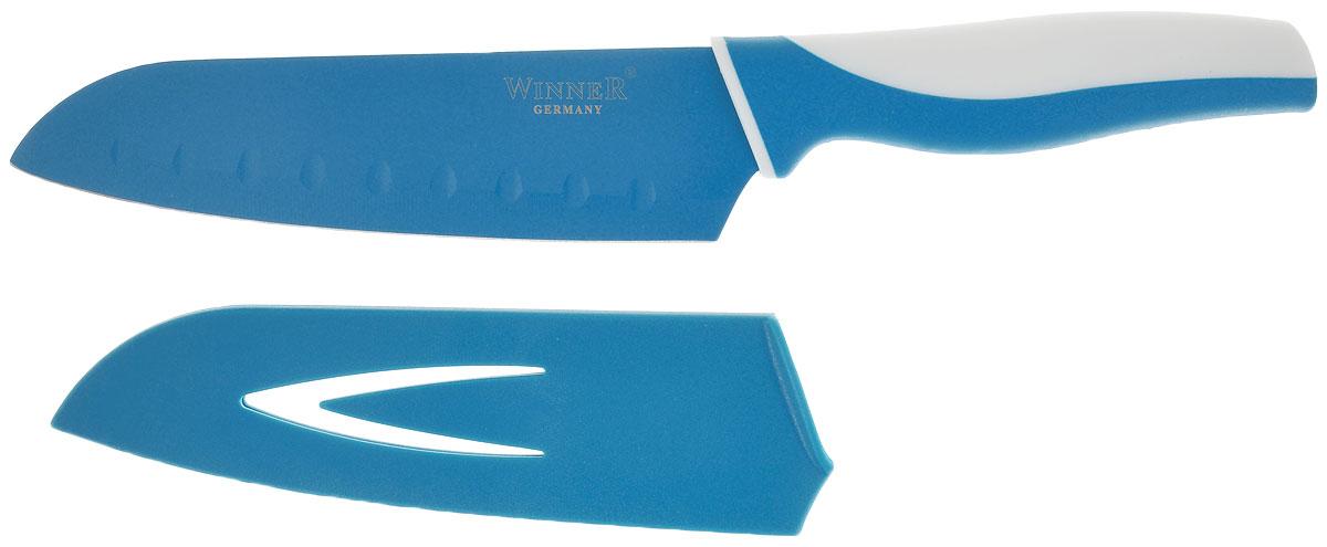Нож поварской Winner, цвет: белый, бирюзовый, длина лезвия 17 смWR-7211_белый, бирюзовыйПоварской нож Winner выполнен из высококачественной нержавеющей стали с цветным полимерным покрытием Xynflon, предотвращающим прилипание продуктов. Очень удобная и эргономичная ручка выполнена из прорезиненного пластика с антибактериальным покрытием Zeomic.Нож используется для измельчения продуктов. Также применяется для отделения костей в птице или рыбе. Нож помогает поддерживать идеальную гигиену на кухне. Zeomic обеспечивает постоянную противомикробную защиту, позволят сохранить нож в чистоте в течение длительного периода времени после мытья, подавляет бактерии, которые способствуют появлению загрязнения и неприятного запаха, гнили и плесени в течение всего времени использования изделия. Поварской нож Winner предоставит вам все необходимые возможности в успешном приготовлении пищи и порадует вас своими результатами.К ножу прилагаются пластиковые ножны. Общая длина ножа: 29,5 см. Длина лезвия: 17 см. Толщина лезвия: 1,2 мм.