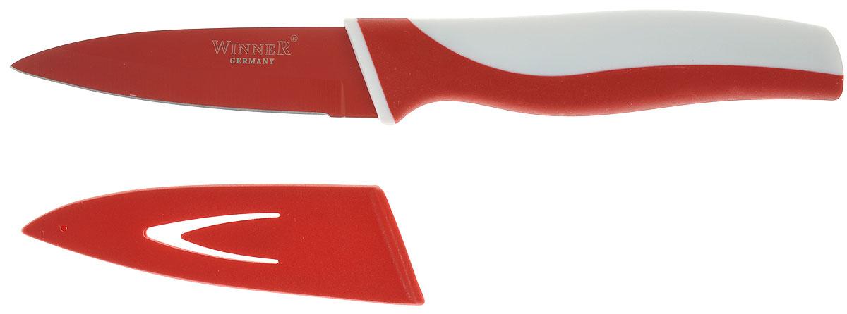 Нож для очистки Winner, цвет: красный, белый, длина лезвия 8,7 смWR-7210_красный, белыйНож для очистки Winner выполнен из высококачественнойнержавеющей стали с цветным полимерным покрытиемXynflon, предотвращающим прилипание продуктов. Оченьудобная и эргономичная ручка выполнена из прорезиненногопластика с антибактериальным покрытием Zeomic.Ножиспользуется для чистки овощей и фруктов, приготовлениягарниров и салатов. Также применяется для отделения костей вптице или рыбе.Нож помогает поддерживать идеальную гигиену на кухне.Zeomic обеспечивает постоянную противомикробную защиту,позволят сохранить нож в чистоте в течение длительногопериода времени после мытья, подавляет бактерии, которыеспособствуют появлению загрязнения и неприятного запаха,гнили и плесени в течение всего времени использованияизделия.Нож для очистки Winner предоставит вам всенеобходимые возможности в успешном приготовлении пищи ипорадует вас своими результатами.К ножу прилагаютсяпластиковые ножны.Общая длина ножа: 19 см.Длина лезвия: 8,7 см.Толщина лезвия: 1,2 мм.