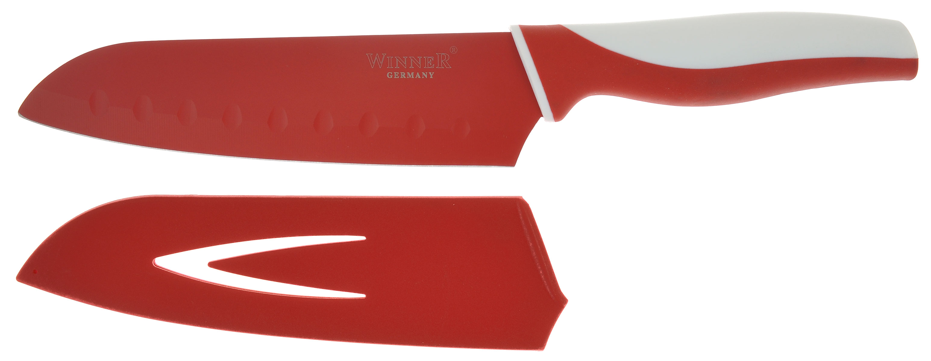 Нож поварской Winner, цвет: белый, красный, длина лезвия 17 смWR-7211_белый, красныйПоварской нож Winner выполнен из высококачественной нержавеющей стали с цветным полимерным покрытием Xynflon, предотвращающим прилипание продуктов. Очень удобная и эргономичная ручка выполнена из прорезиненного пластика с антибактериальным покрытием Zeomic.Нож используется для измельчения продуктов. Также применяется для отделения костей в птице или рыбе. Нож помогает поддерживать идеальную гигиену на кухне. Zeomic обеспечивает постоянную противомикробную защиту, позволят сохранить нож в чистоте в течение длительного периода времени после мытья, подавляет бактерии, которые способствуют появлению загрязнения и неприятного запаха, гнили и плесени в течение всего времени использования изделия. Поварской нож Winner предоставит вам все необходимые возможности в успешном приготовлении пищи и порадует вас своими результатами.К ножу прилагаются пластиковые ножны. Общая длина ножа: 29,5 см. Длина лезвия: 17 см. Толщина лезвия: 1,2 мм.